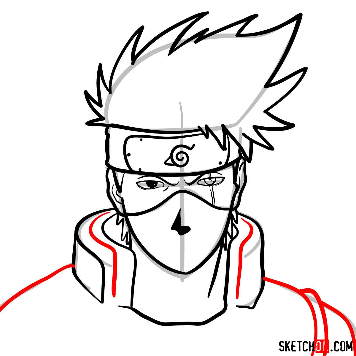 How to draw the face of Kakashi Hatake (Naruto) - step 10