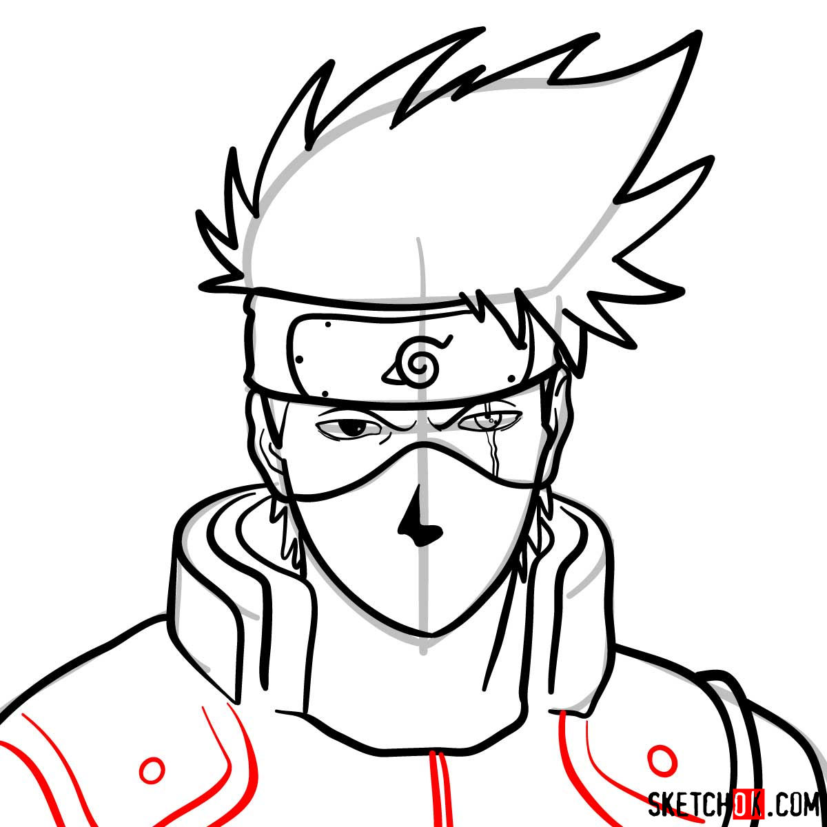 How to draw the face of Kakashi Hatake (Naruto) - step 11
