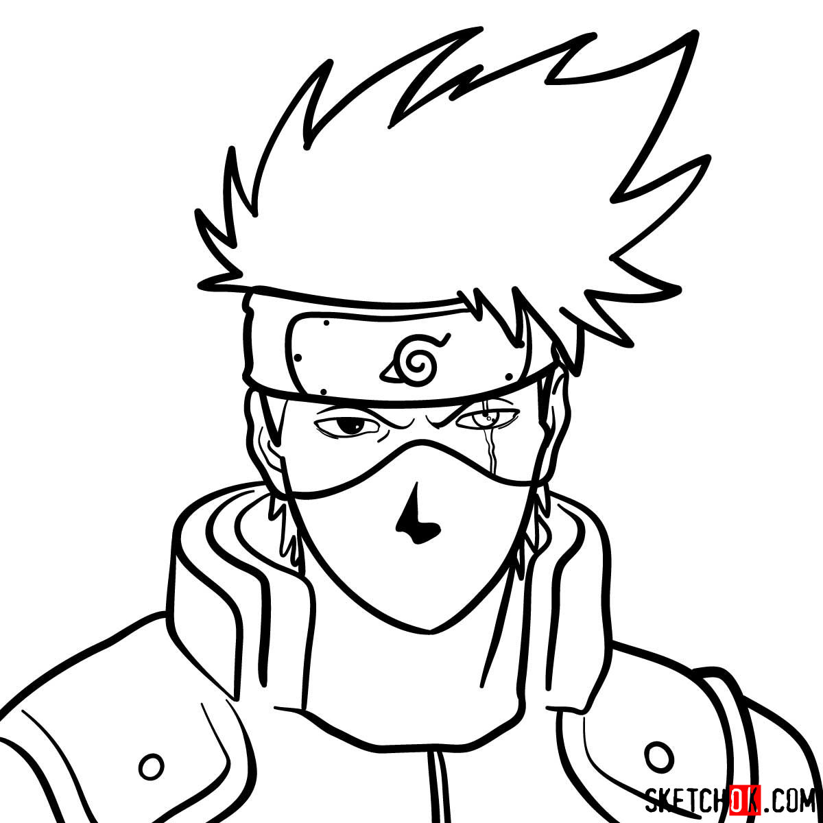 How to draw the face of Kakashi Hatake (Naruto) - step 12