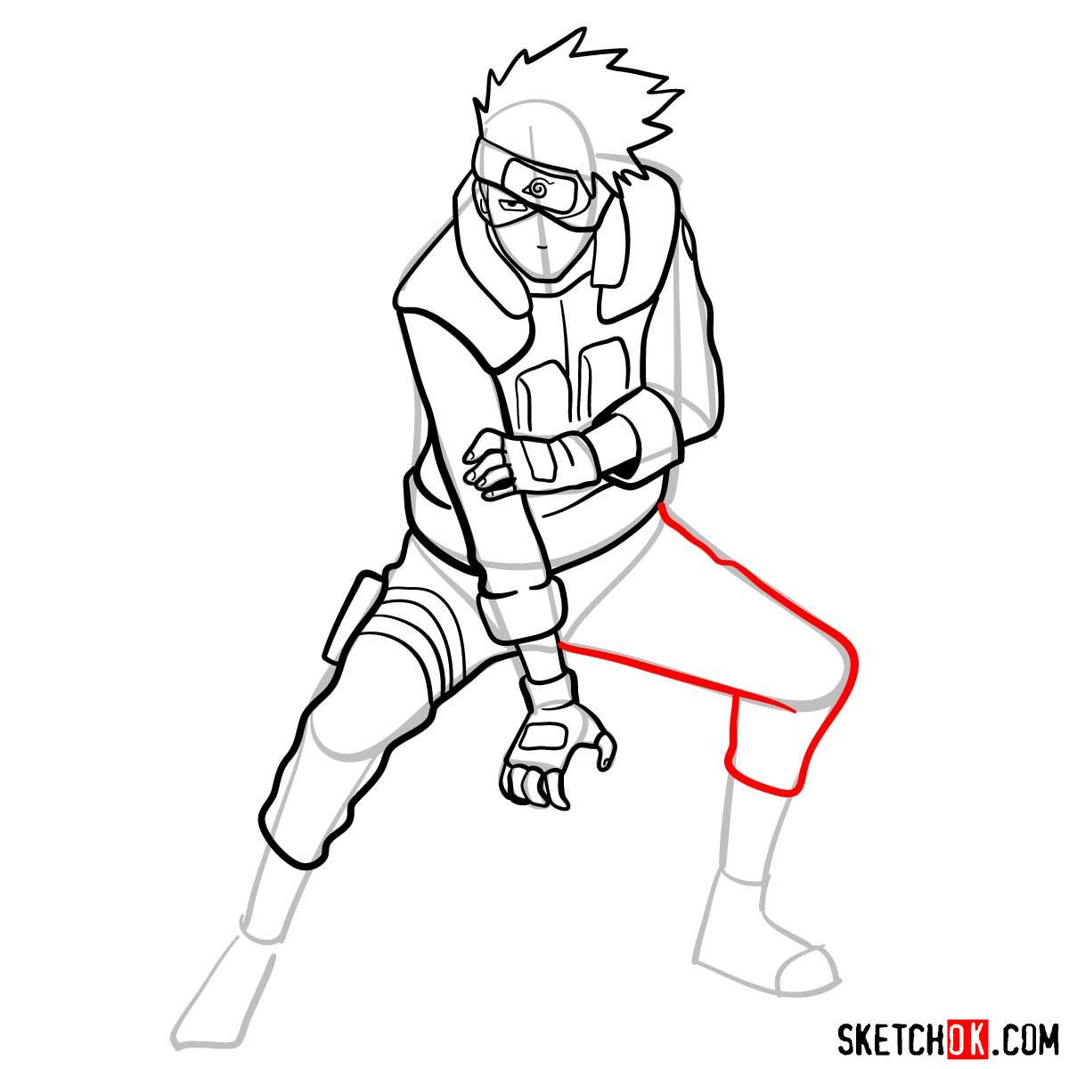 How to draw Kakashi Hatake from Naruto anime - step 12