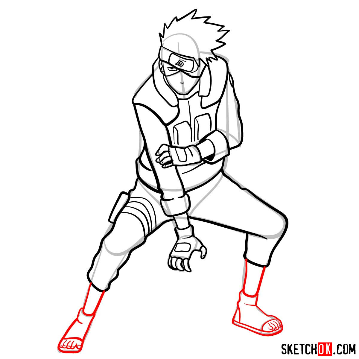 How to draw Kakashi Hatake from Naruto anime - step 13