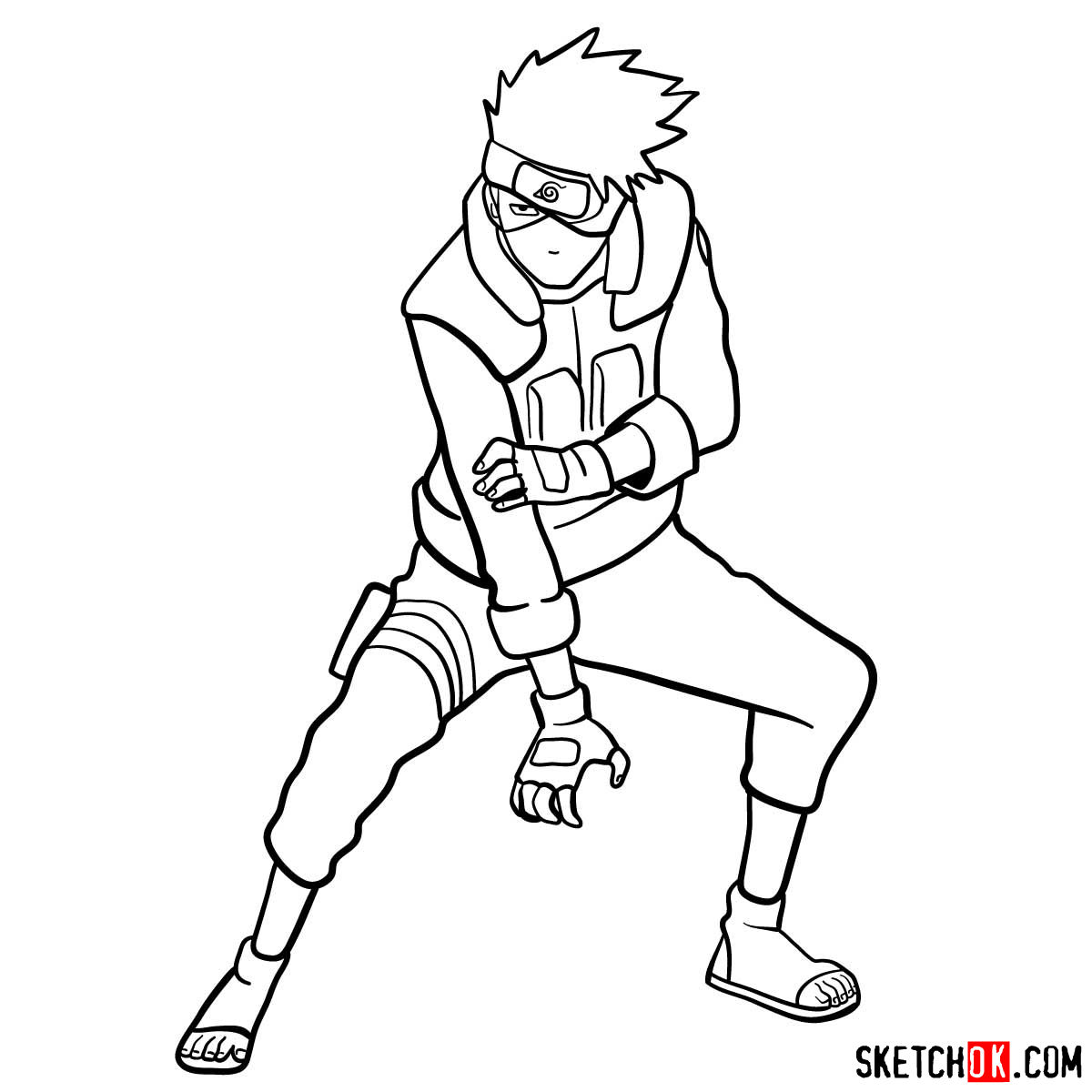 How to draw Kakashi Hatake from Naruto anime - step 14