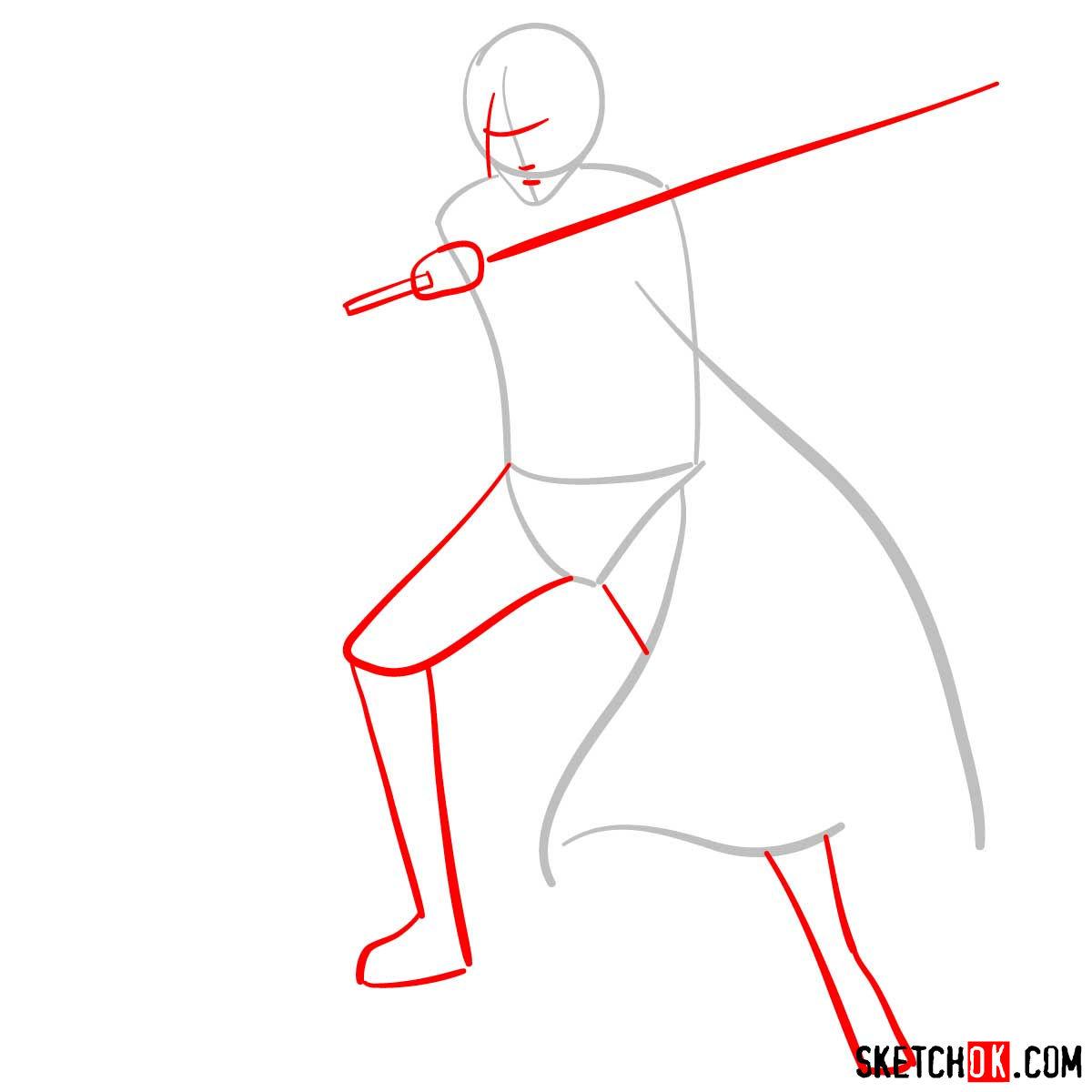 How to draw Sasuke Uchiha from Naruto anime - step 02