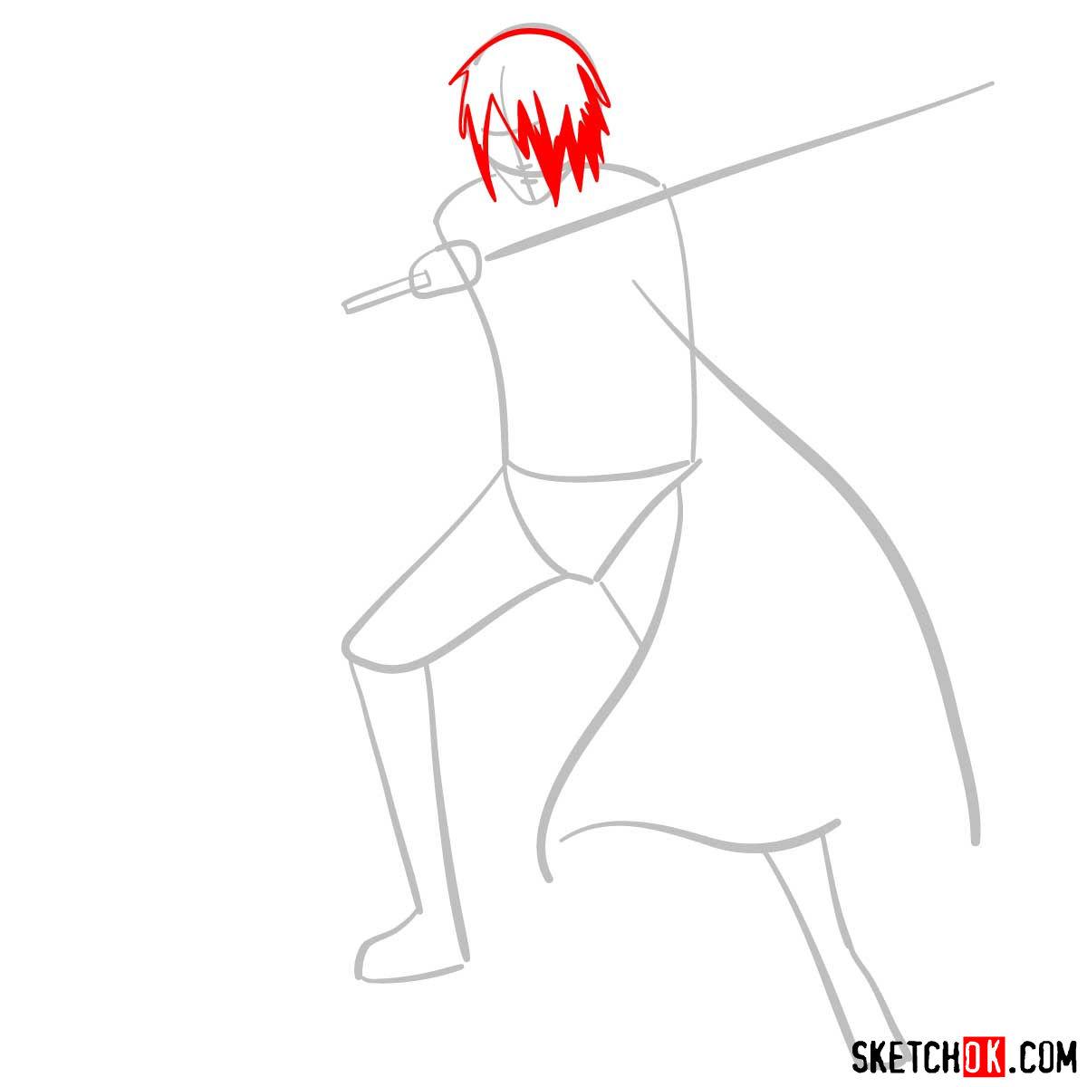 How to draw Sasuke Uchiha from Naruto anime - step 03