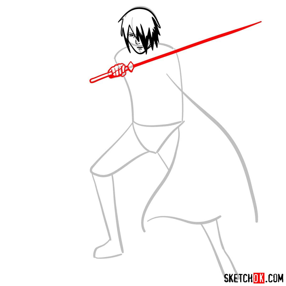 How to draw Sasuke Uchiha from Naruto anime - step 05