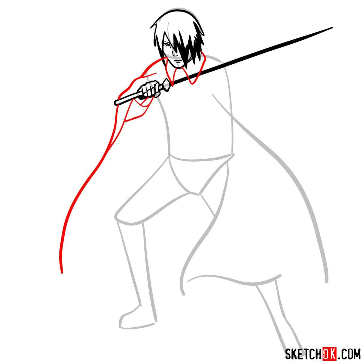 How to draw Sasuke Uchiha from Naruto anime - step 06