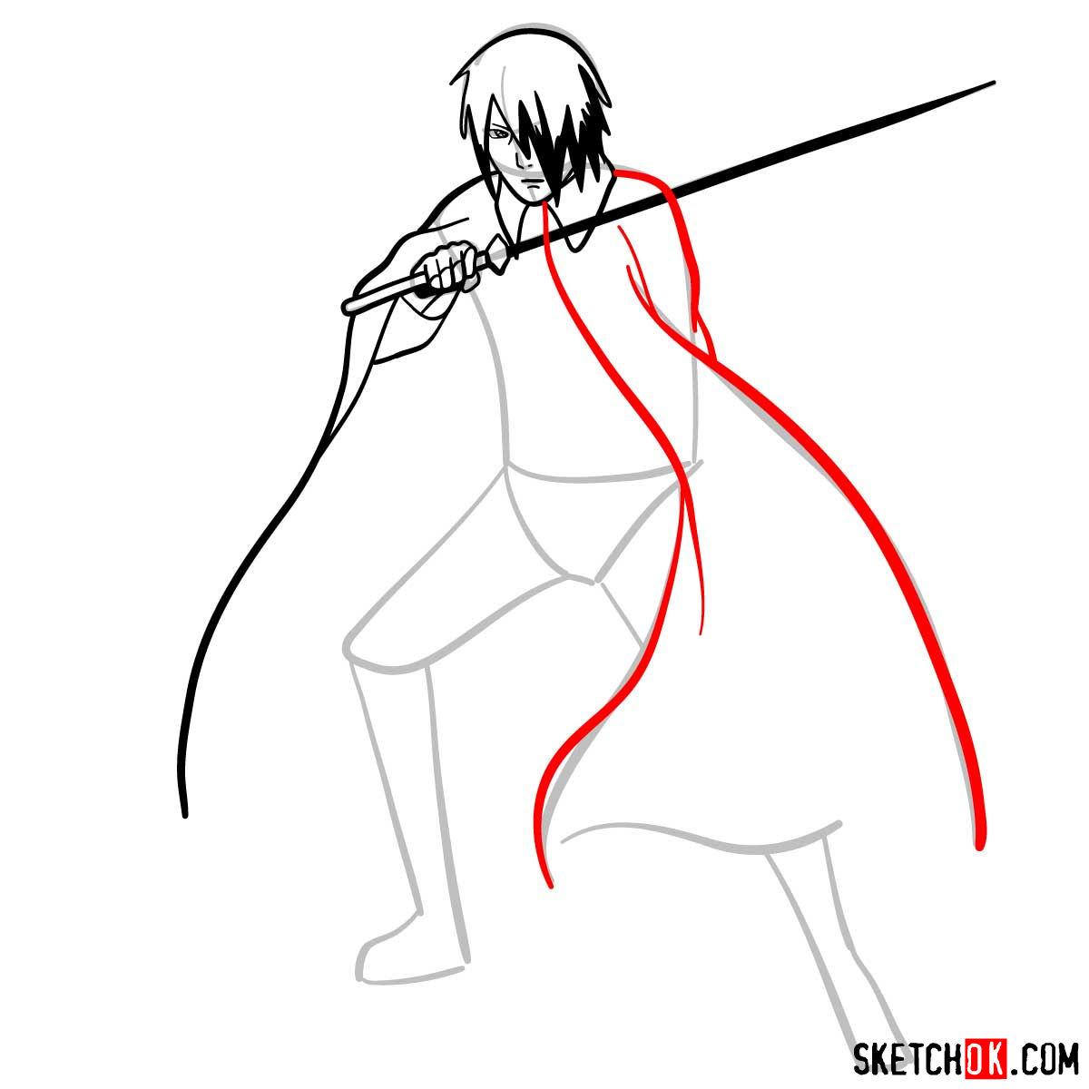 How to draw Sasuke Uchiha from Naruto anime - step 07
