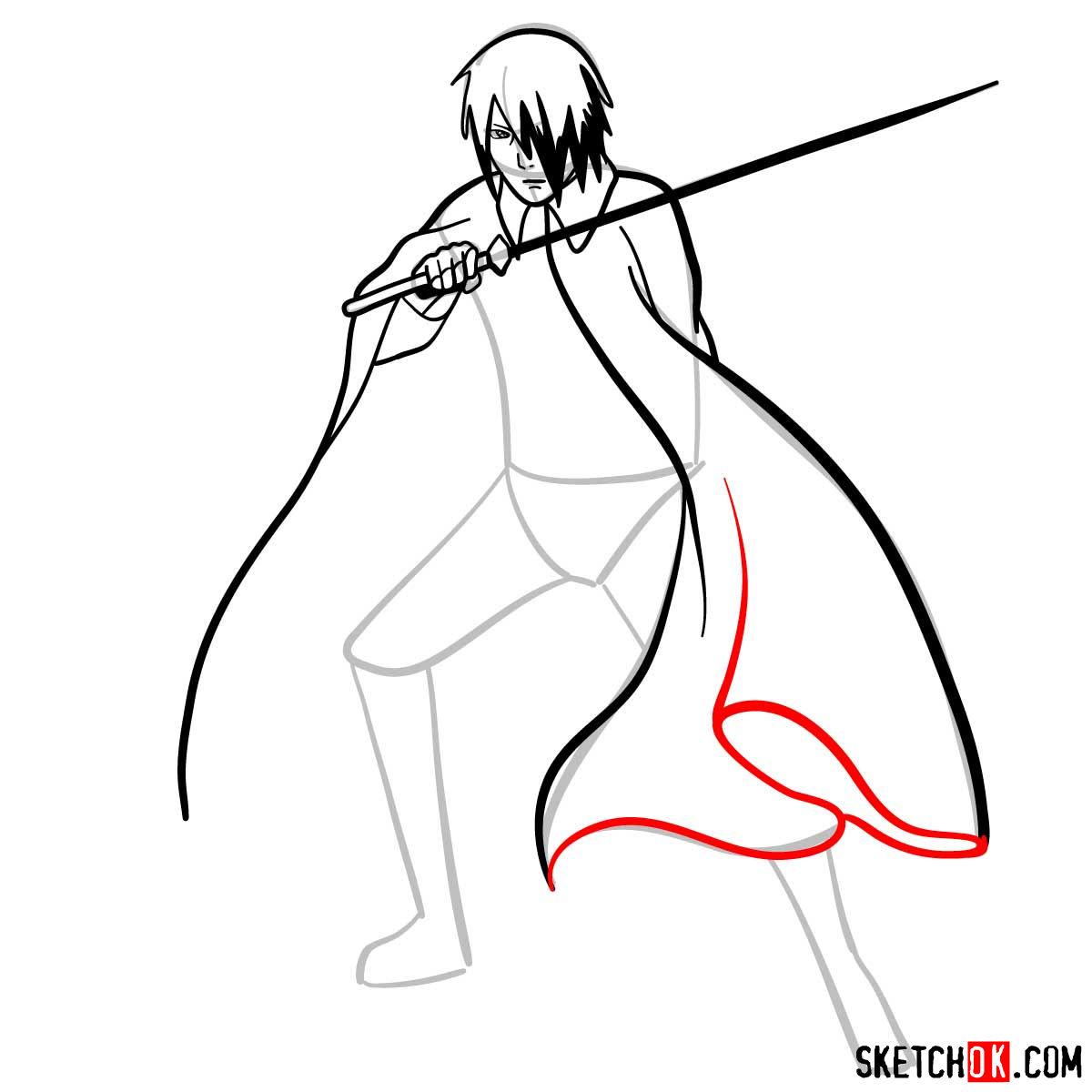 How to draw Sasuke Uchiha from Naruto anime - step 08
