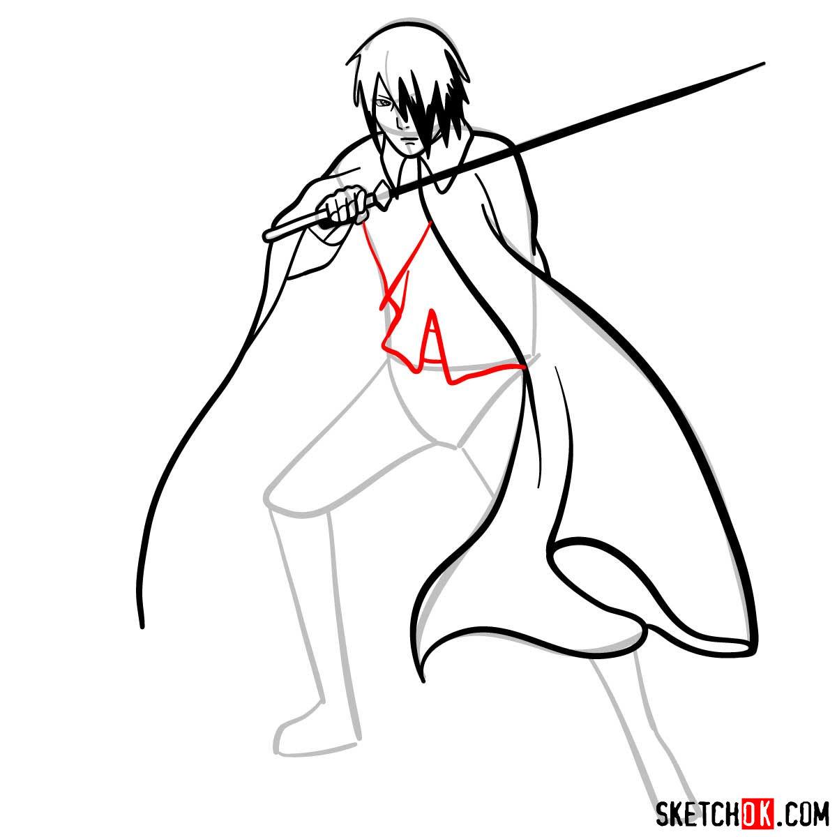 How to draw Sasuke Uchiha from Naruto anime - step 09