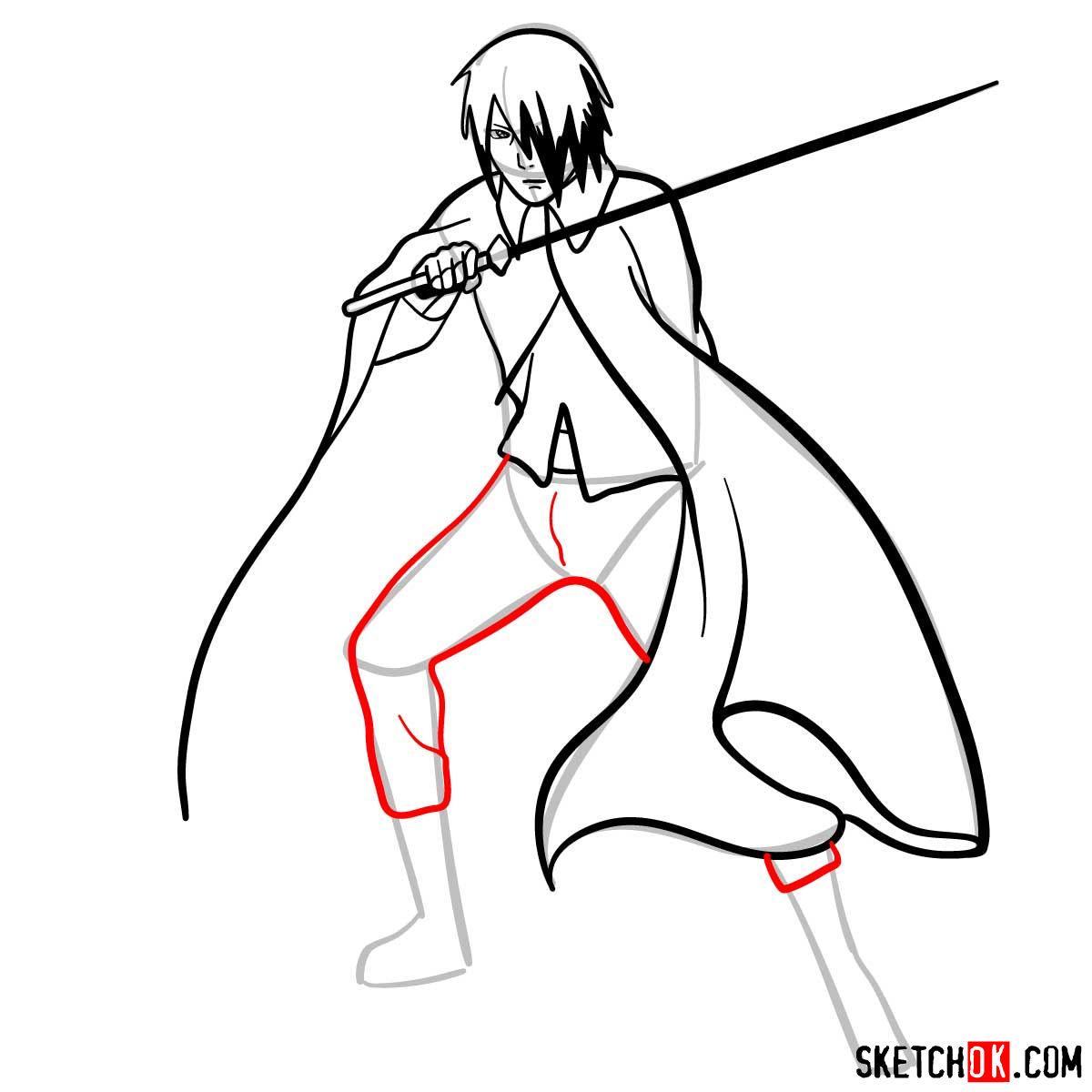 How to draw Sasuke Uchiha from Naruto anime - step 10