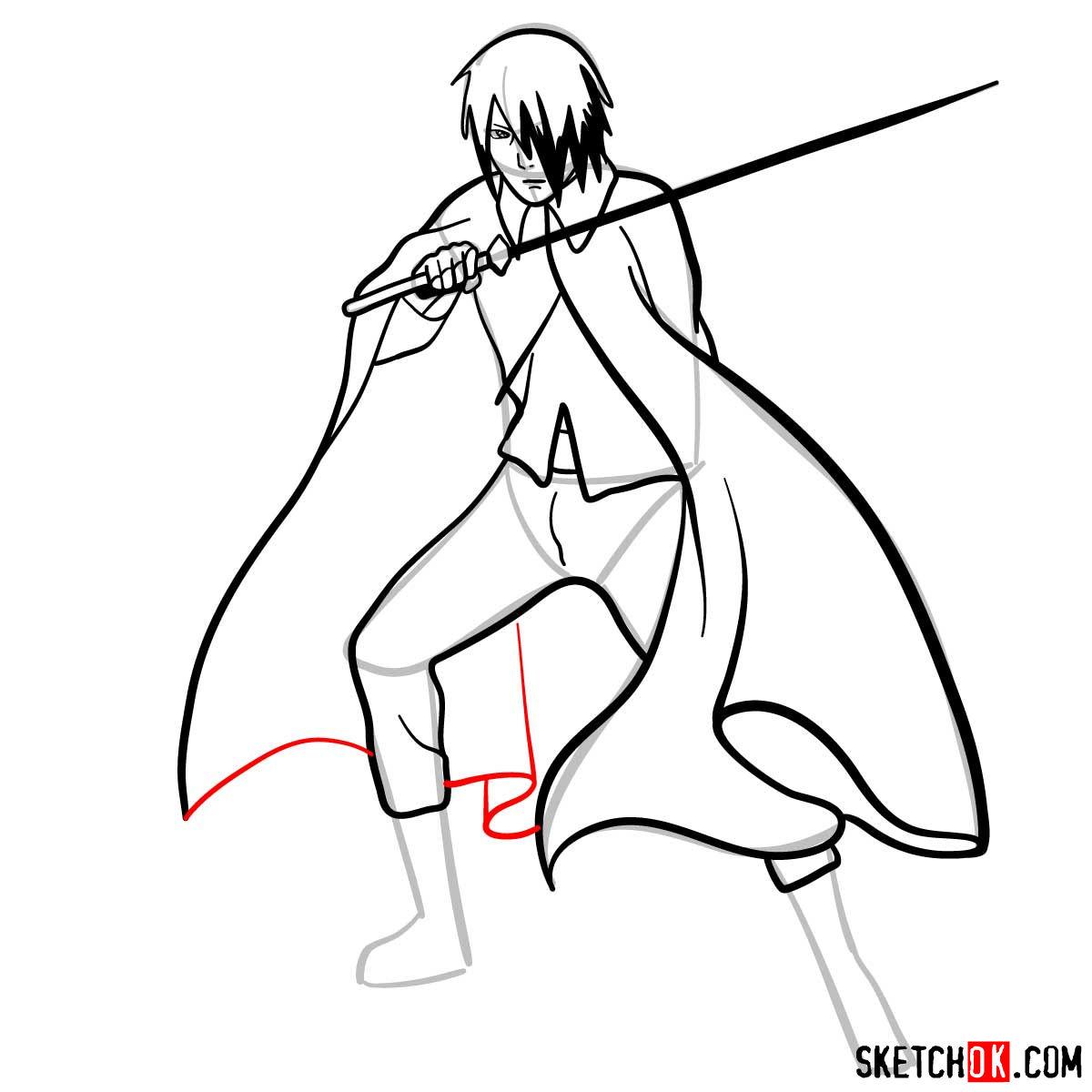 How to draw Sasuke Uchiha from Naruto anime - step 11