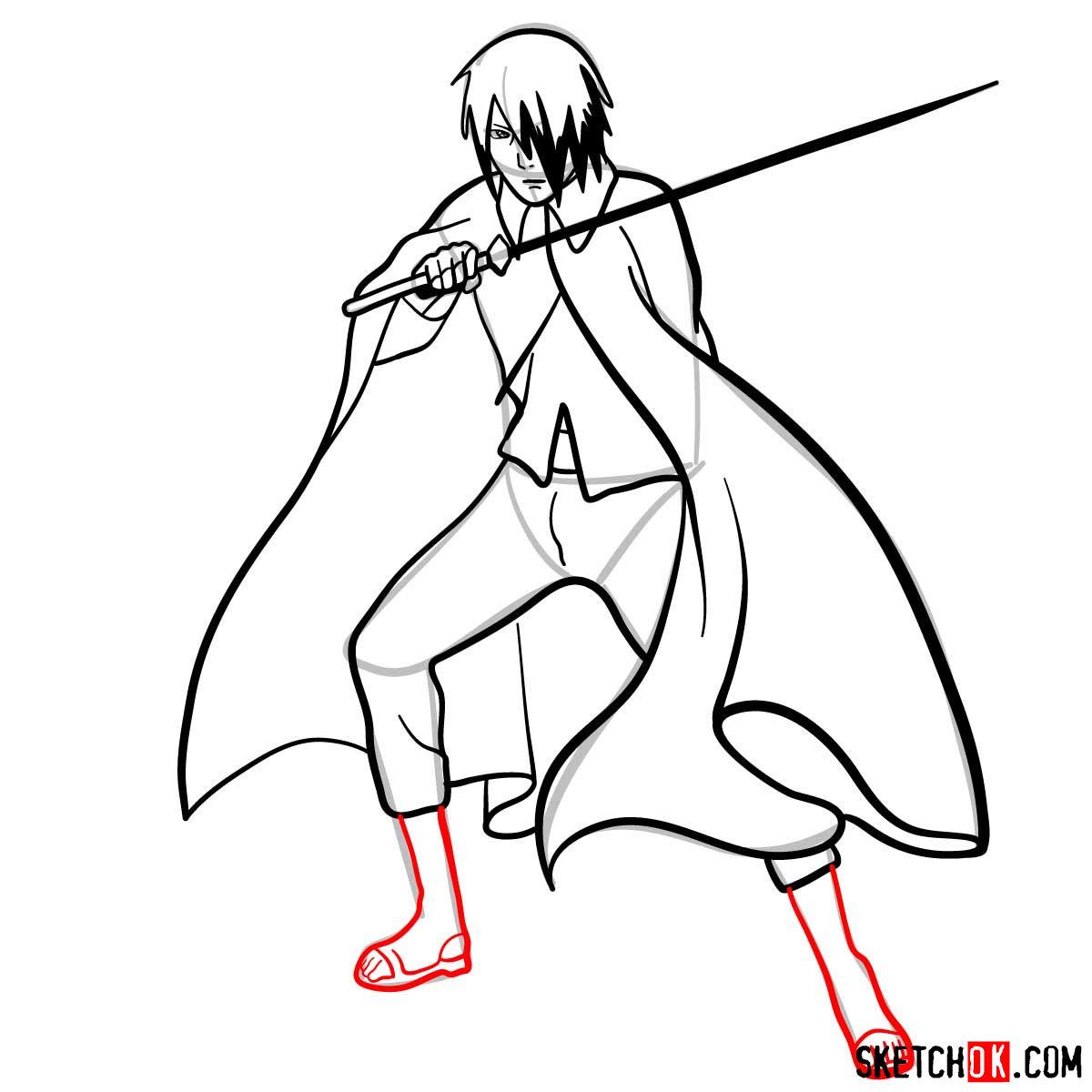 How to draw Sasuke Uchiha from Naruto anime - step 12
