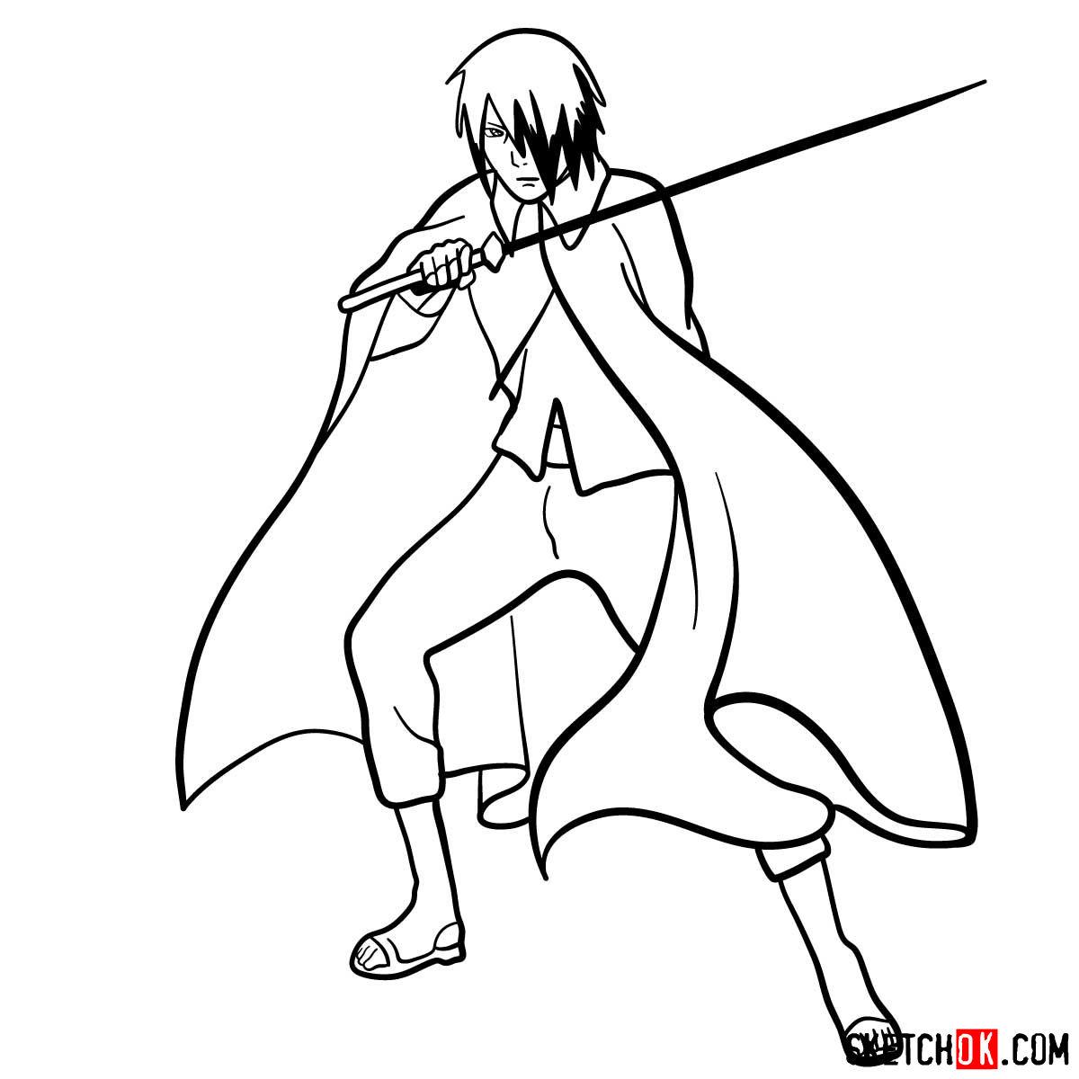 How to draw Sasuke Uchiha from Naruto anime - step 13
