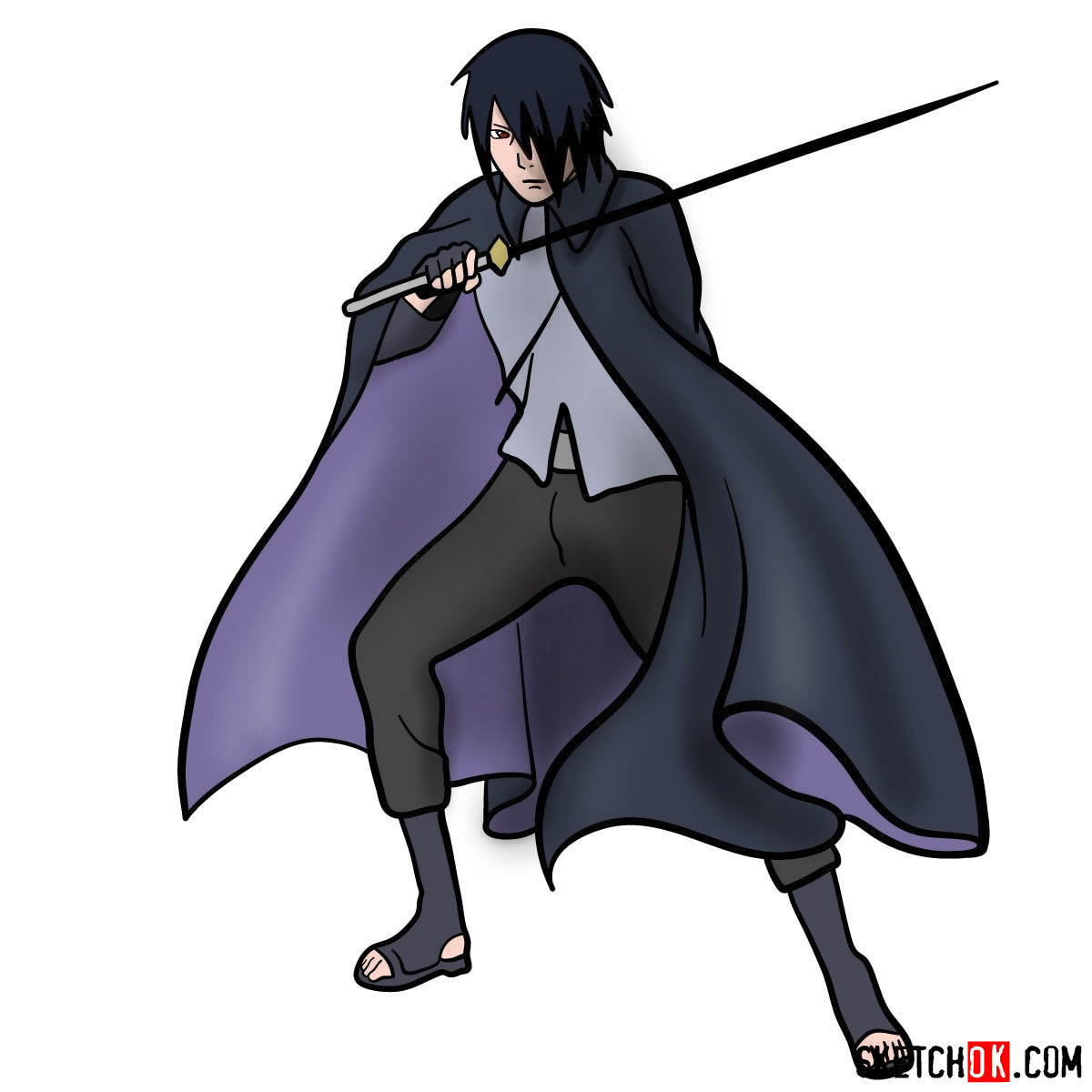 How to draw Sasuke Uchiha from Naruto anime