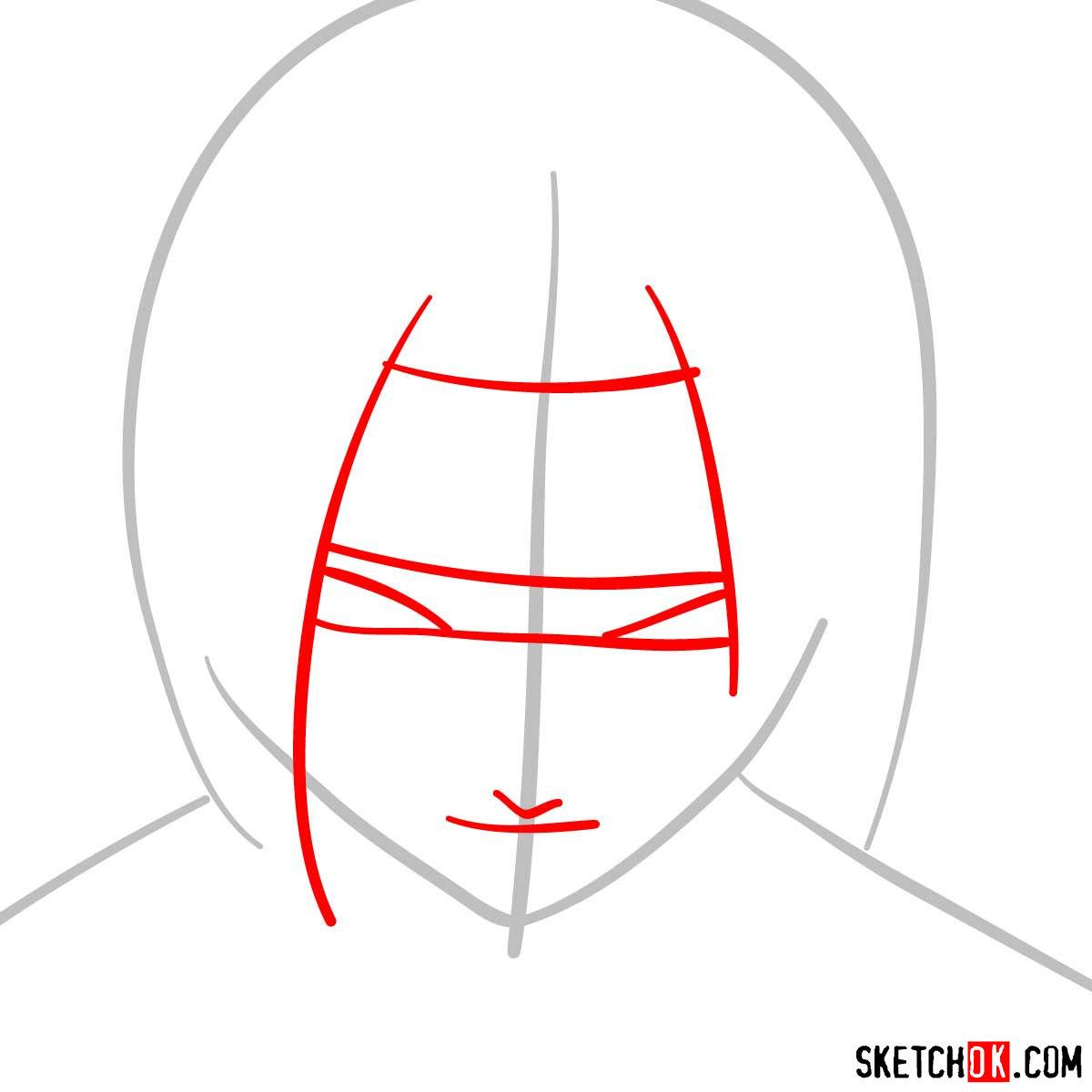 How to draw Sasuke's face (Naruto anime) - step 02