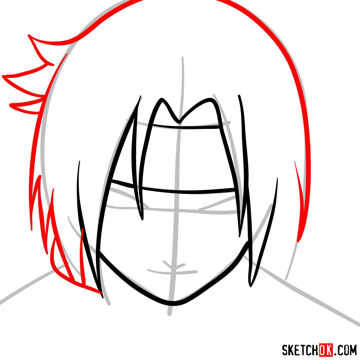 How to draw Sasuke's face (Naruto anime) - step 05
