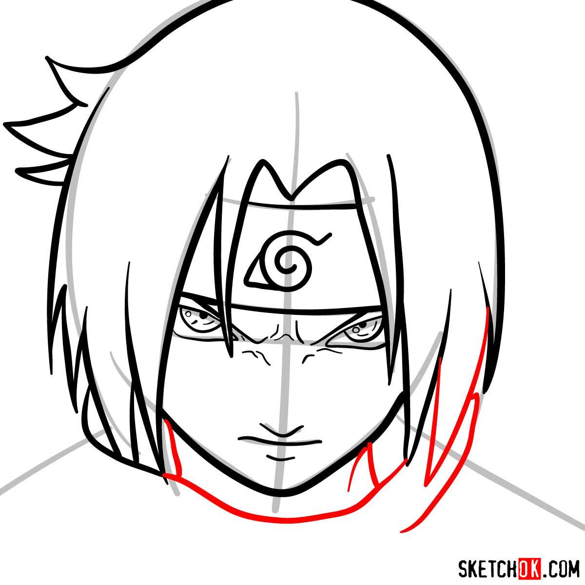 How to draw Sasuke's face (Naruto anime) - step 08