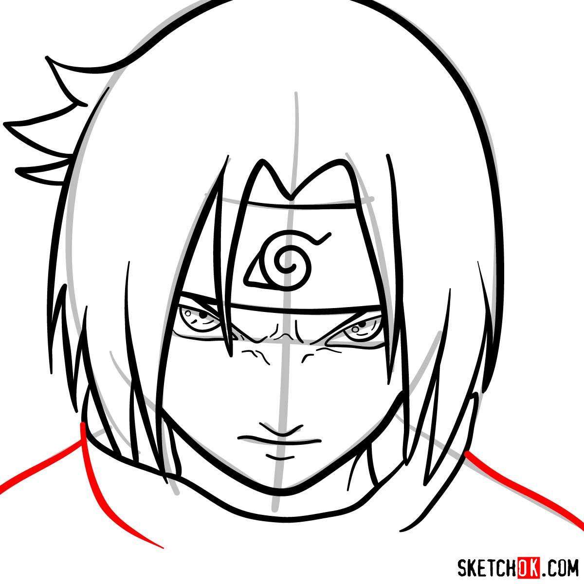 How to draw Sasuke's face (Naruto anime) - step 09