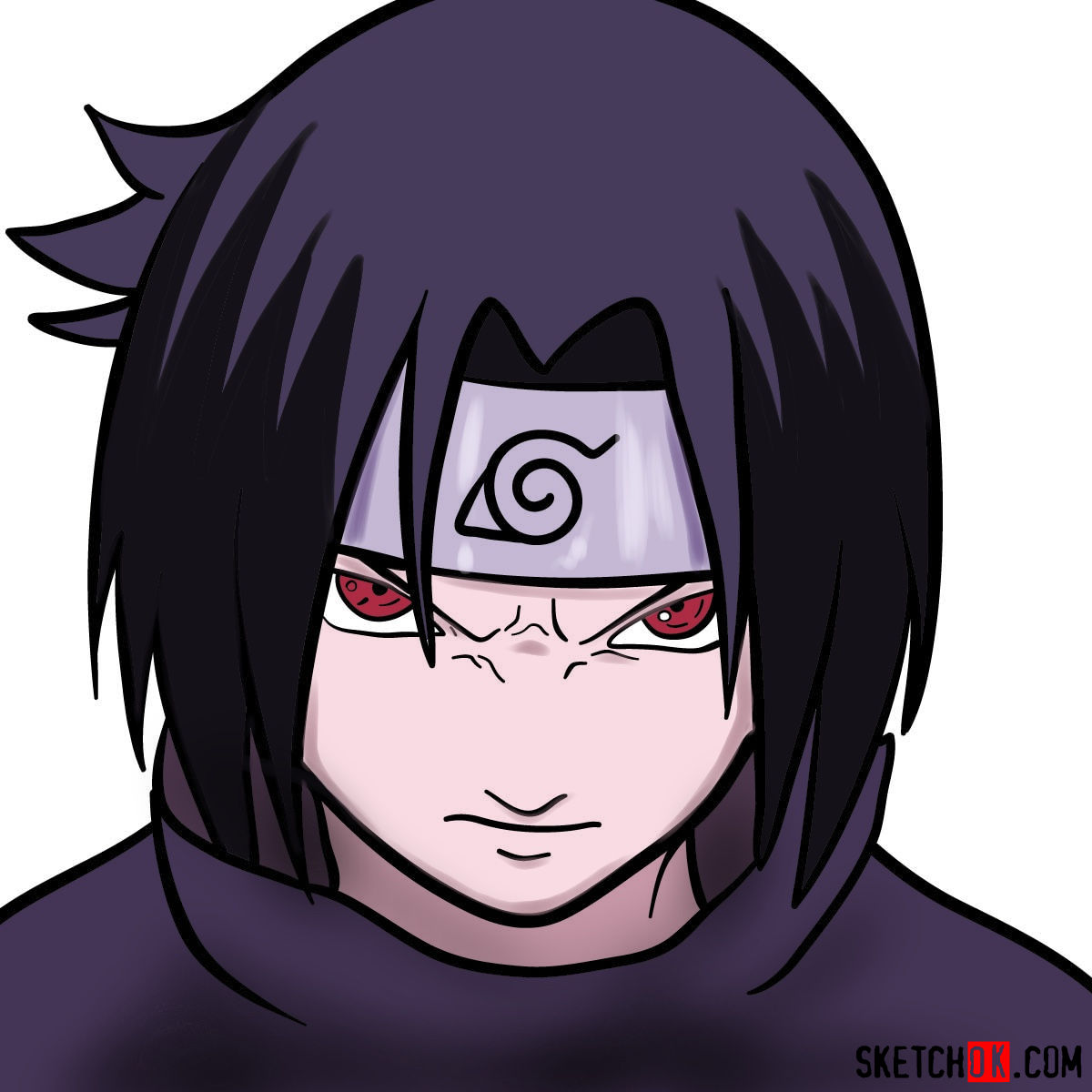 How to draw Sasuke's face (Naruto anime)