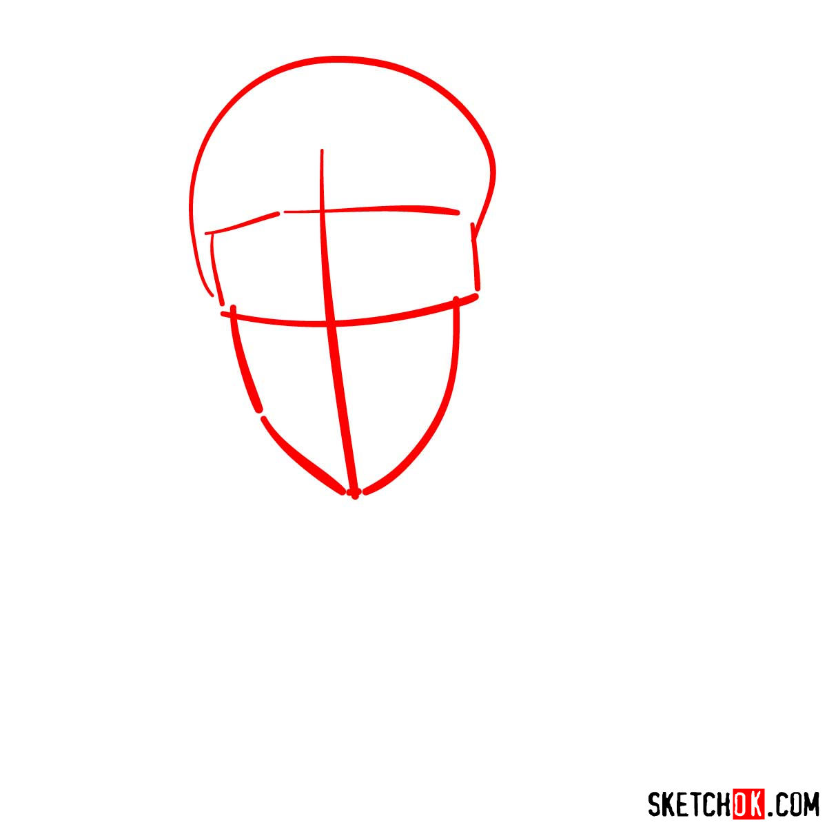 How to draw Naruto's face - step 01