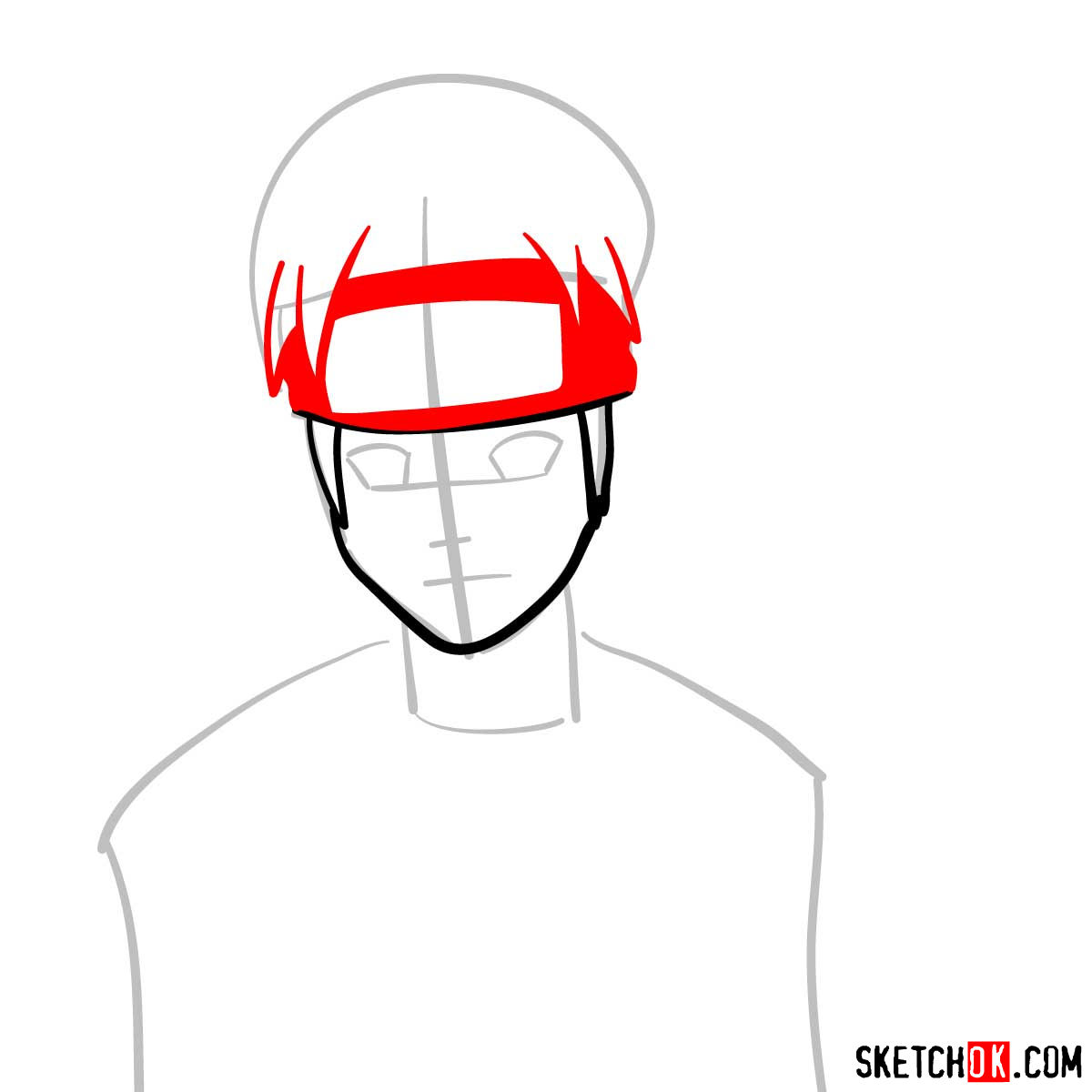 How to draw Naruto's face - step 04