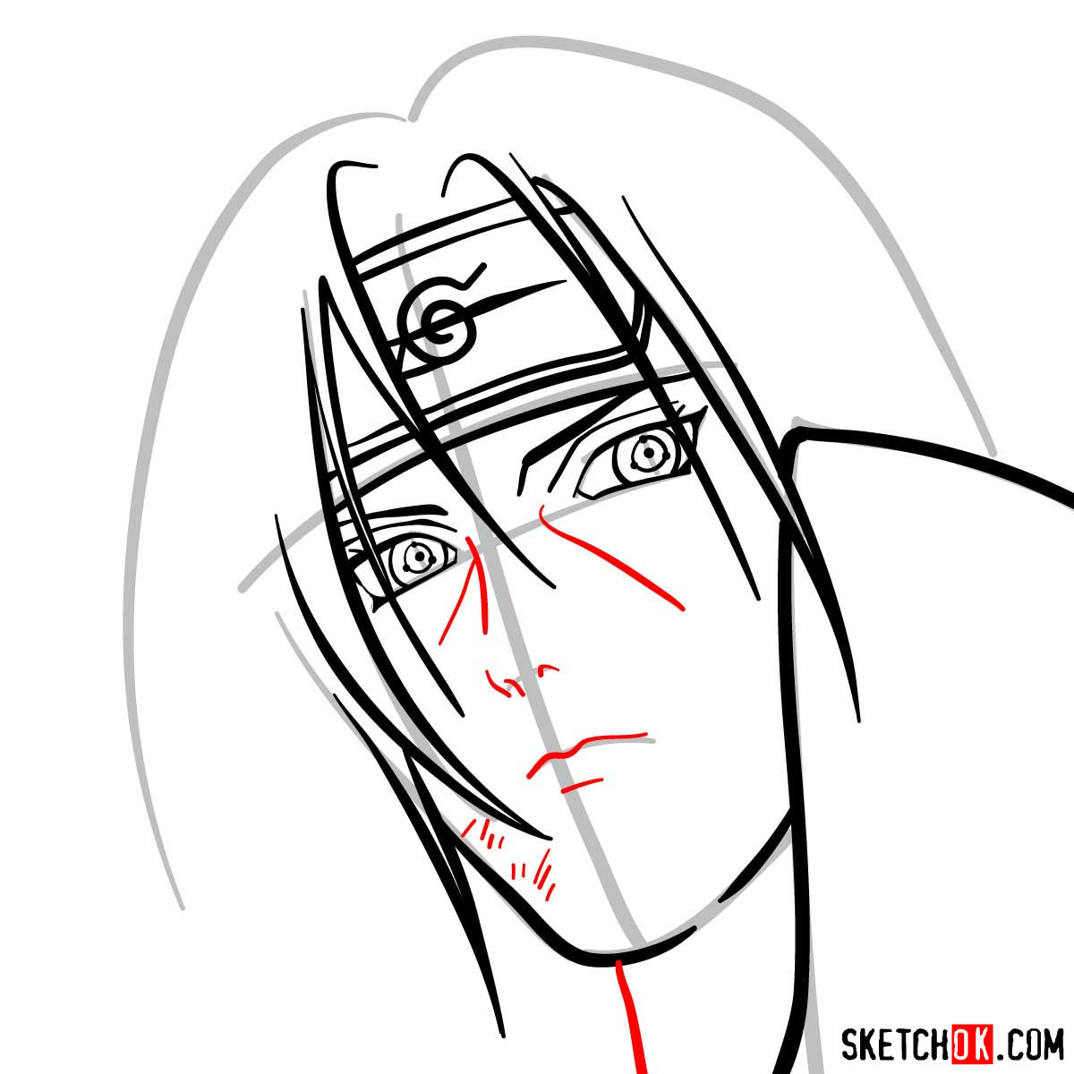 How to draw Itachi's face (Naruto anime) - step 08