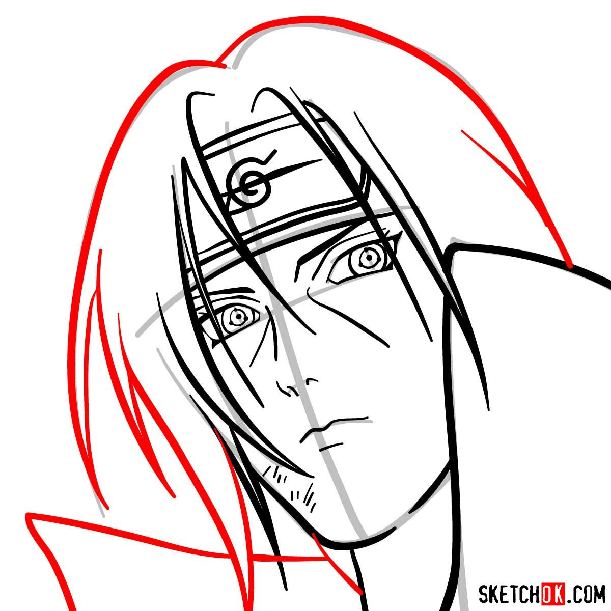 How to draw Itachi's face (Naruto anime) - step 09
