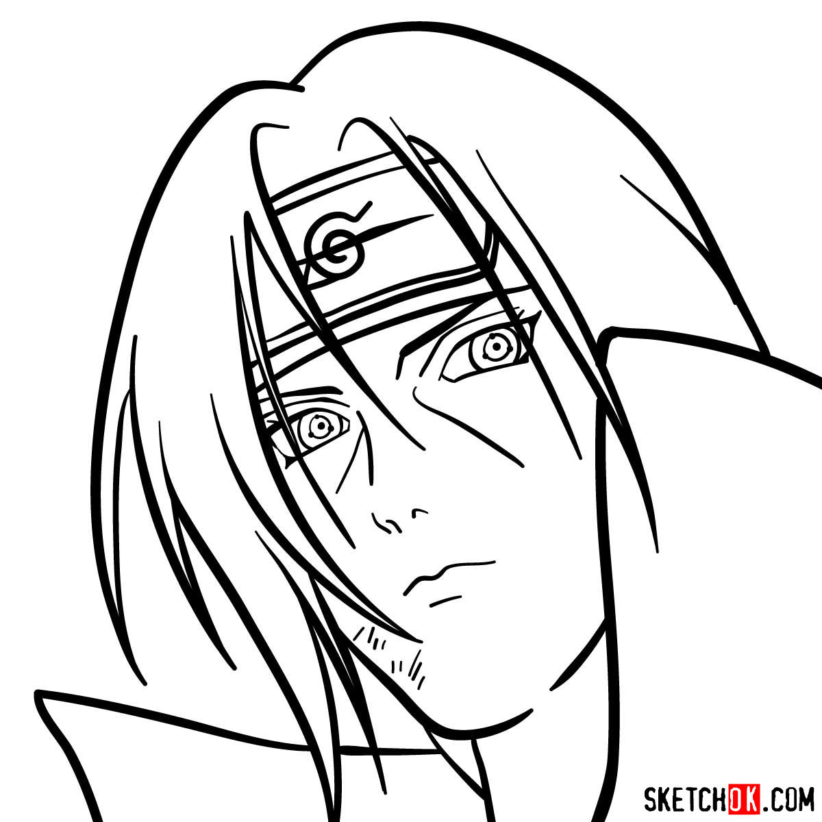 How to draw Itachi's face (Naruto anime) - step 10