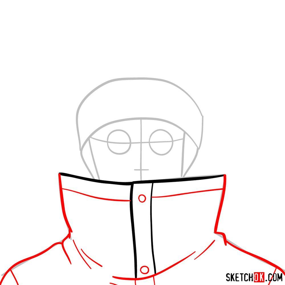 How to draw Shino Aburame's face - step 04