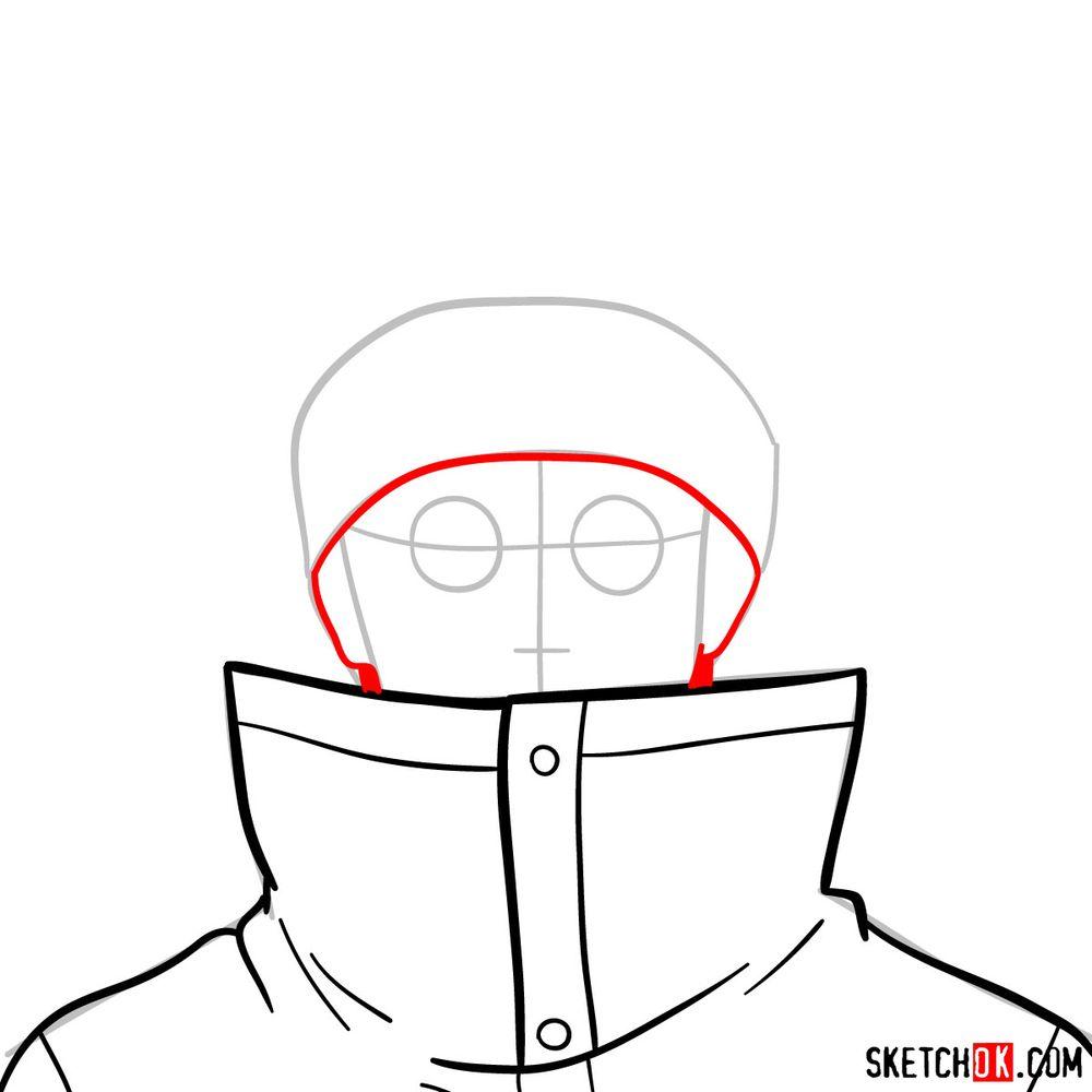 How to draw Shino Aburame's face - step 05