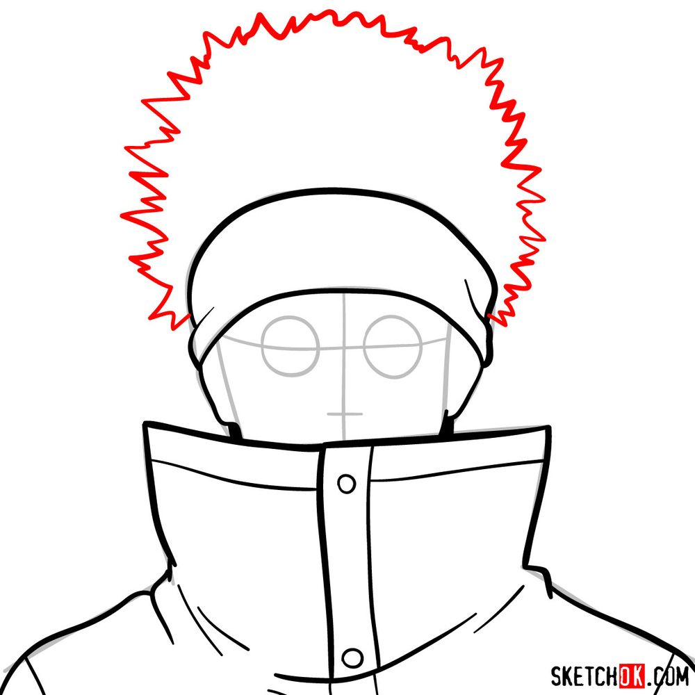 How to draw Shino Aburame's face - step 07