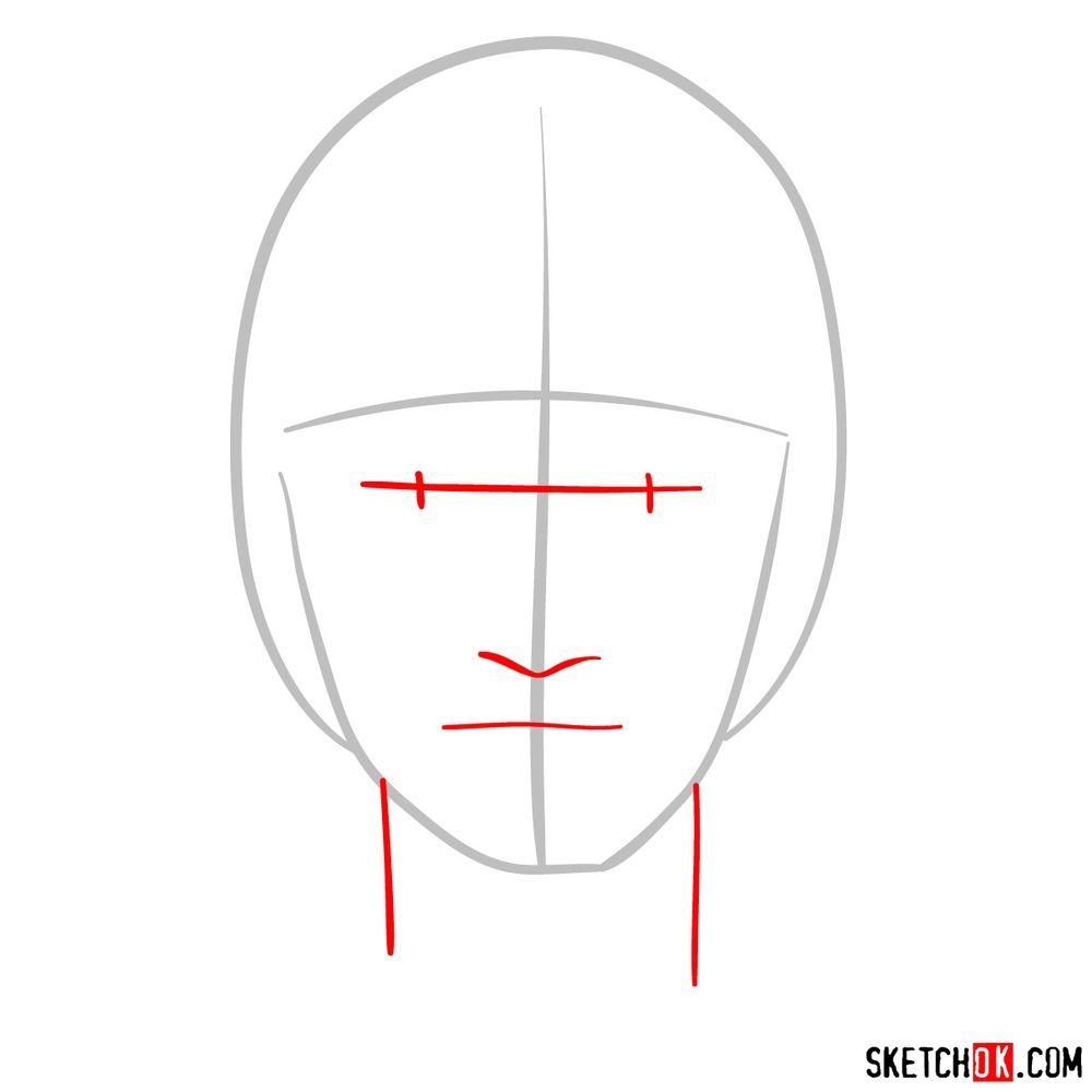 How to draw Might Guy's face - step 02