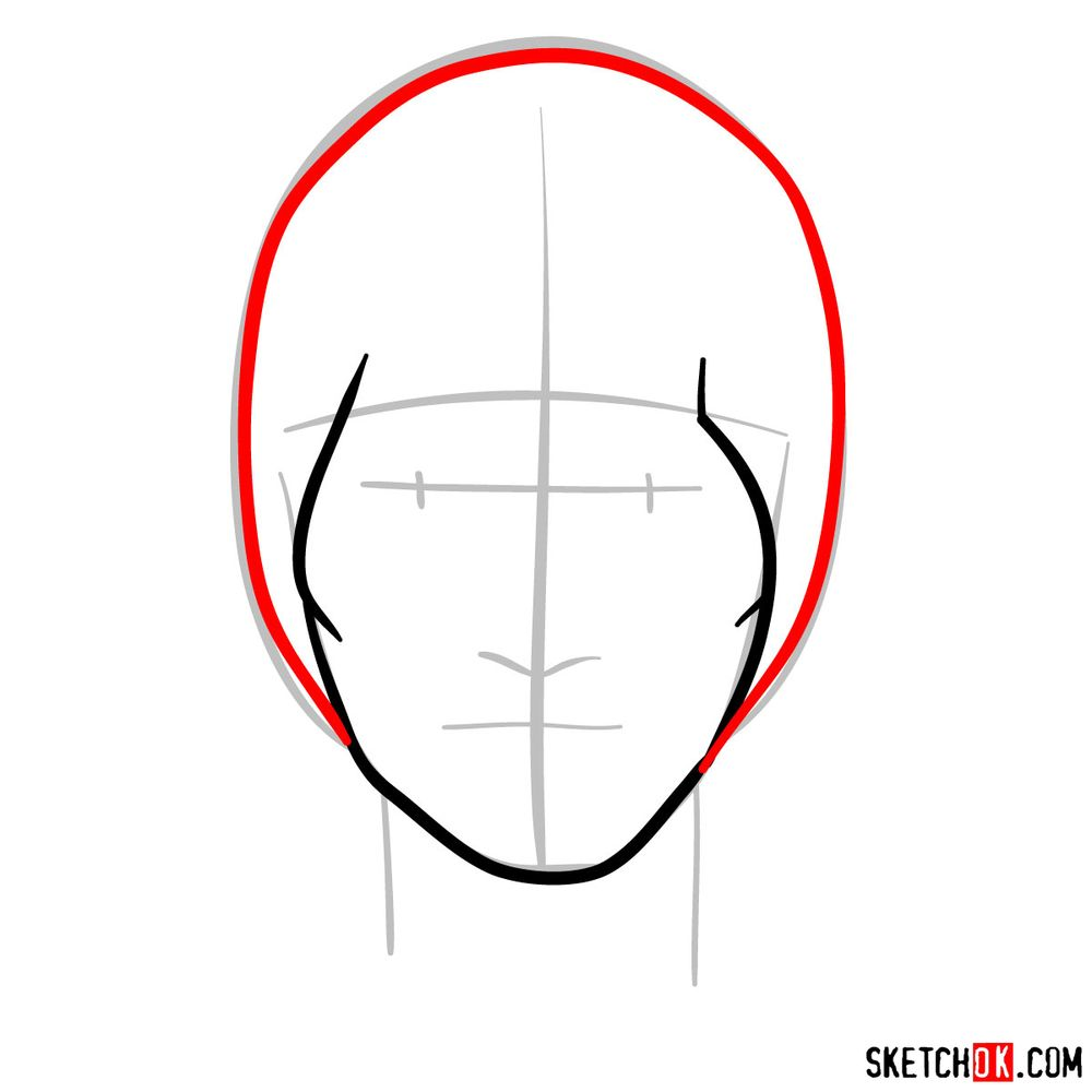 How to draw Might Guy's face - step 04