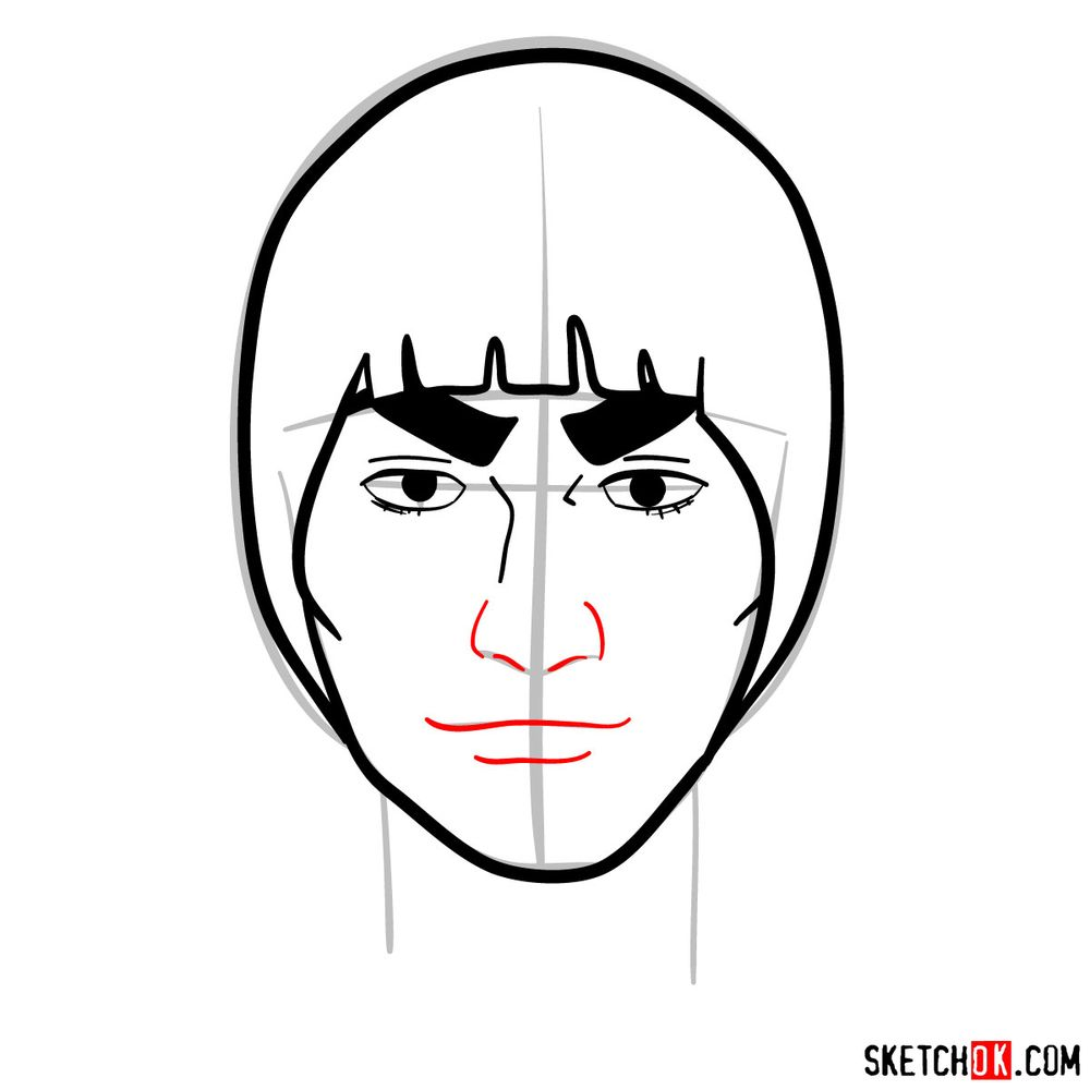 How to draw Might Guy's face - step 07