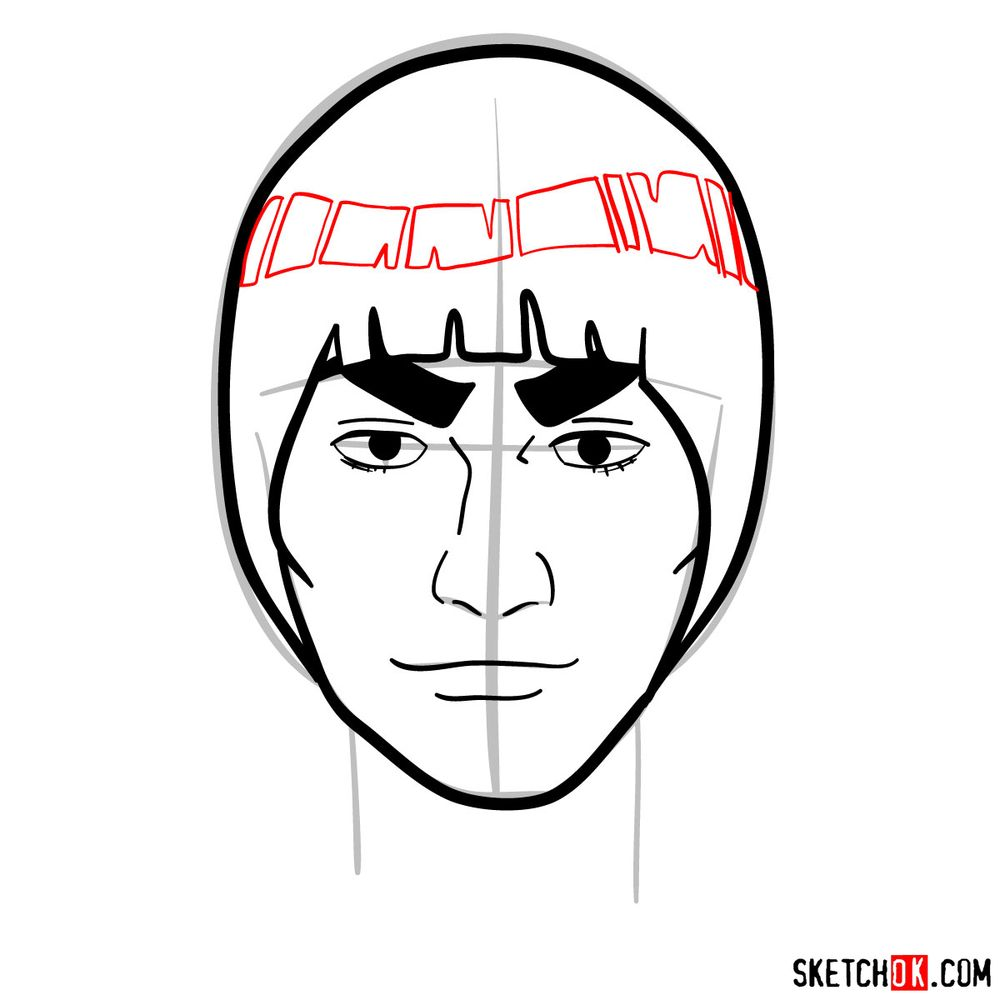 How to draw Might Guy's face - step 08