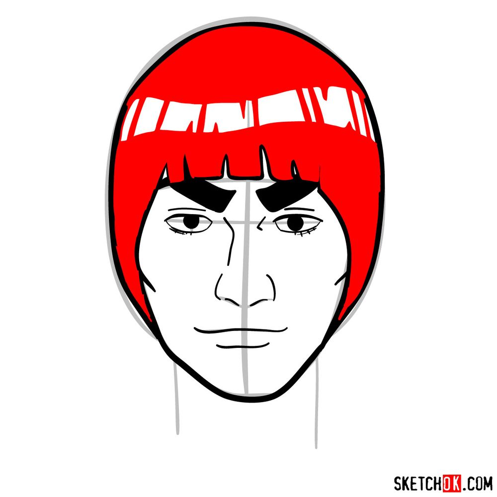 How to draw Might Guy's face - step 09