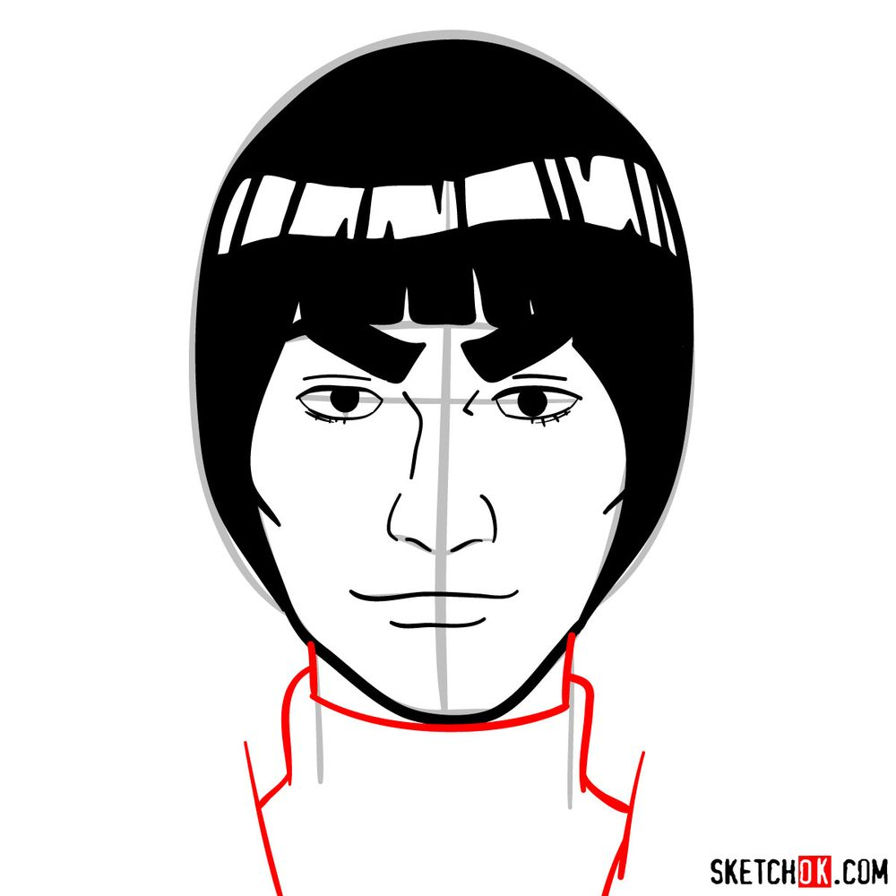 How to draw Might Guy's face - step 10
