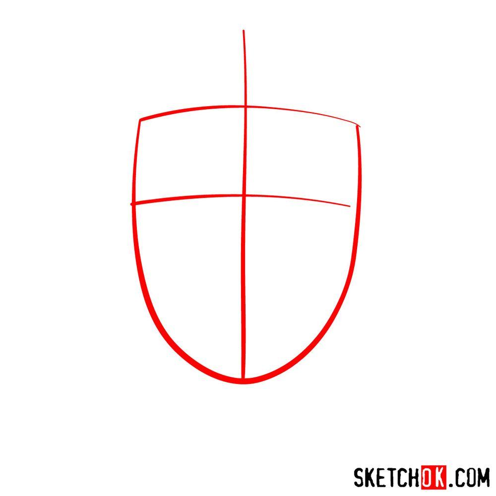 How to draw Neji Hyuga's face - step 01