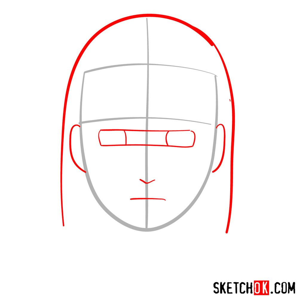 How to draw Neji Hyuga's face - step 02