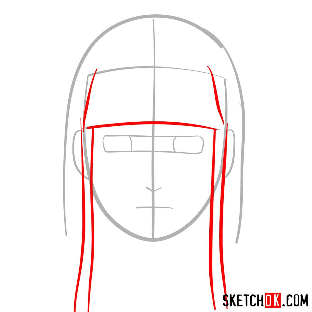 How to draw Neji Hyuga's face - step 03