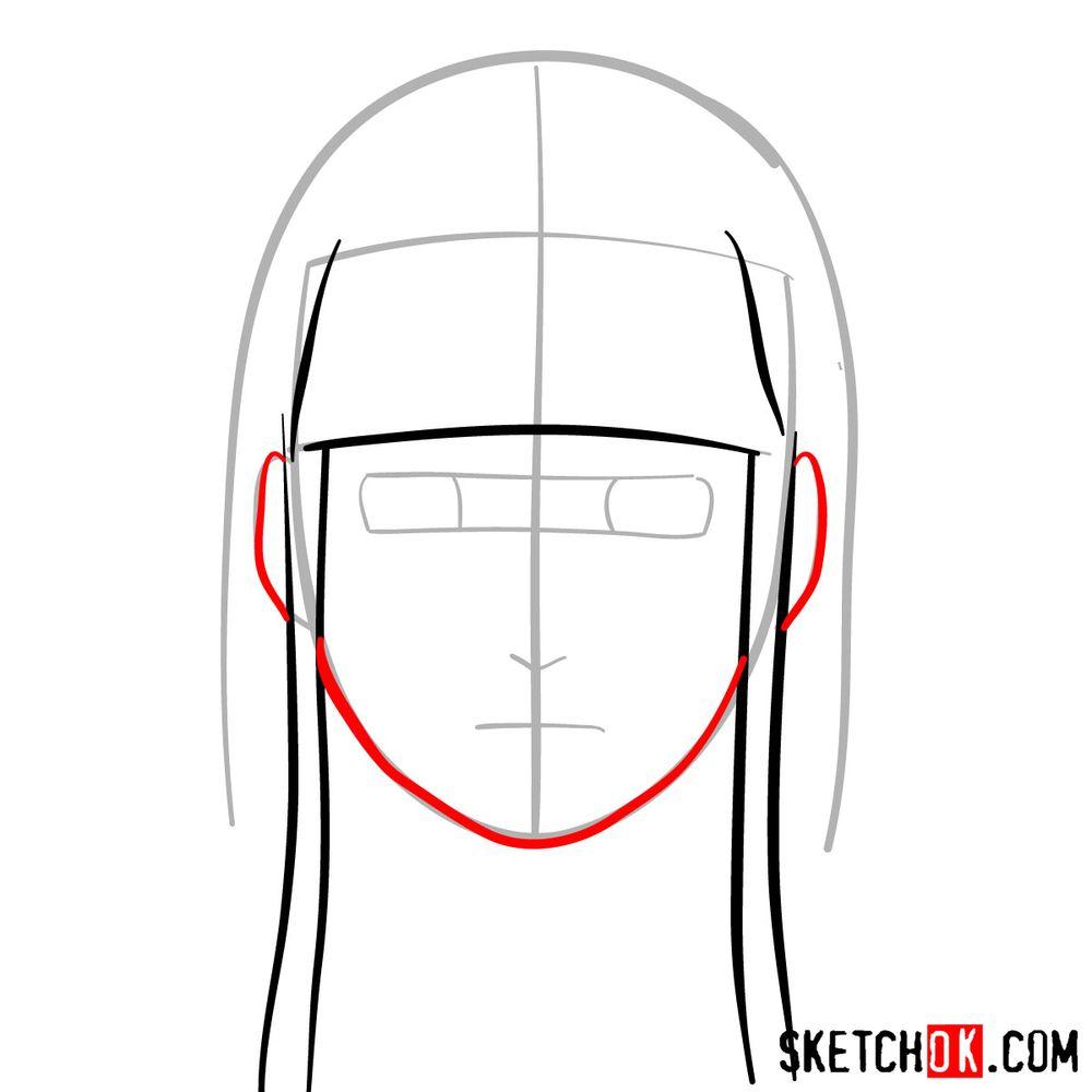 How to draw Neji Hyuga's face - step 04