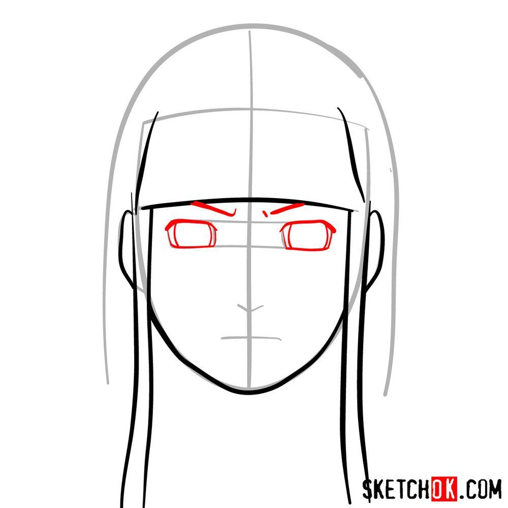How to draw Neji Hyuga's face - step 05