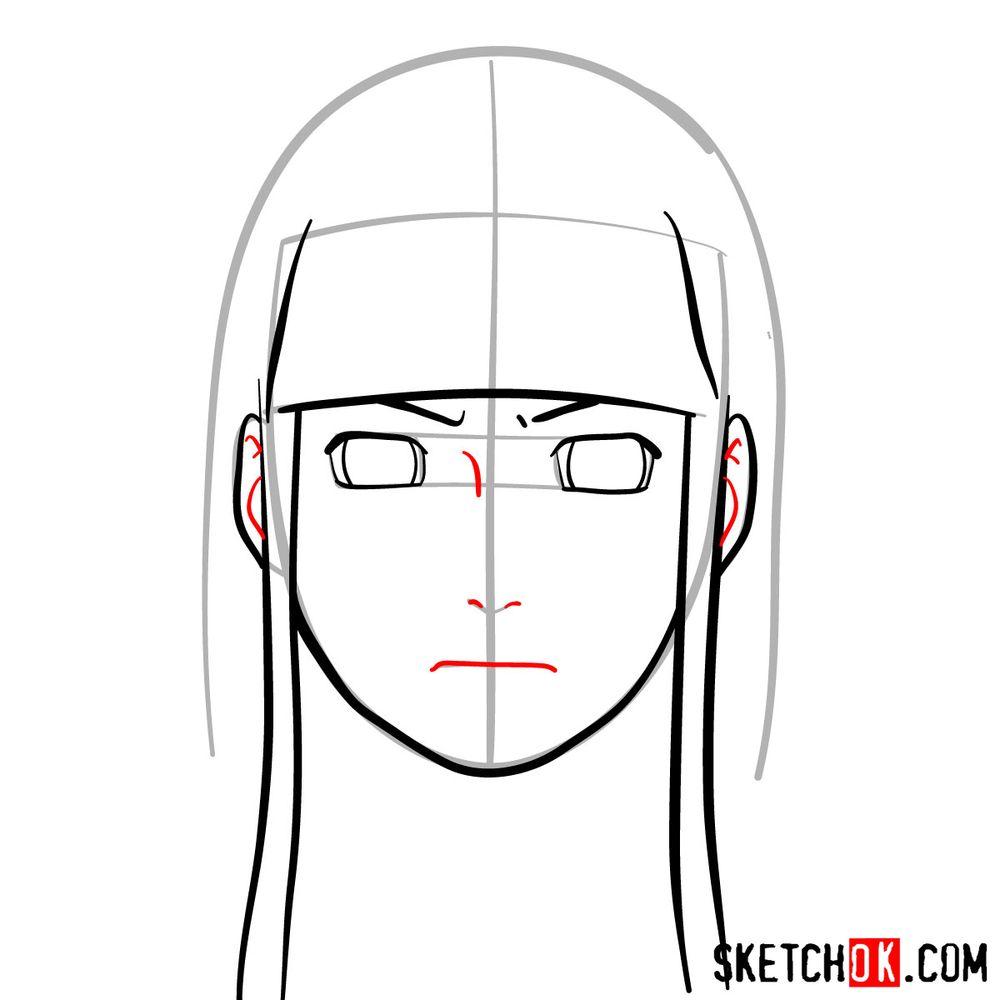 How to draw Neji Hyuga's face - step 06
