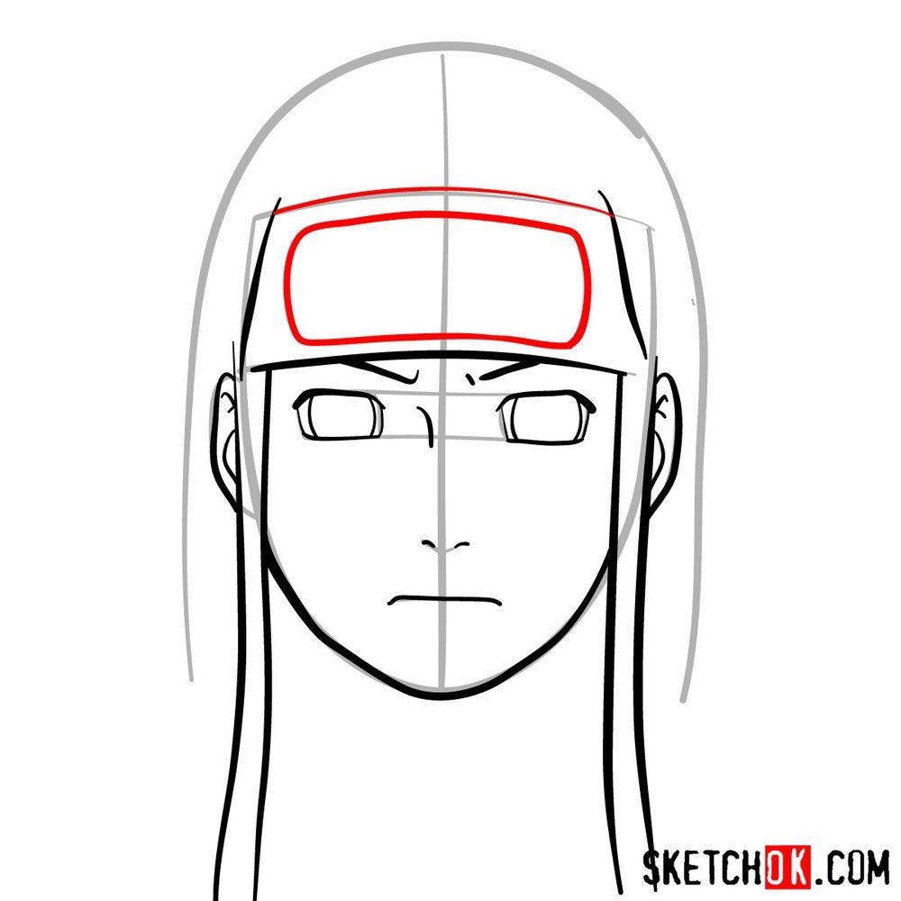 How to draw Neji Hyuga's face - step 07