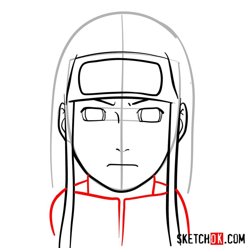 How to draw Neji Hyuga's face - step 08