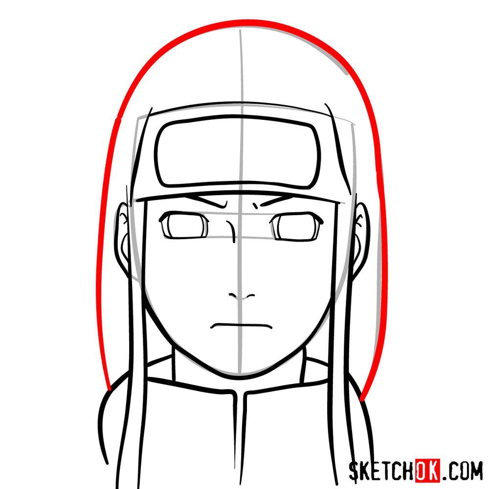 How to draw Neji Hyuga's face - step 09