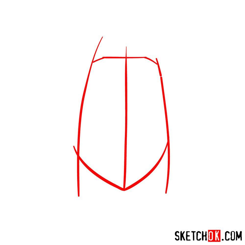 How to draw Sakura Haruno's face - step 01