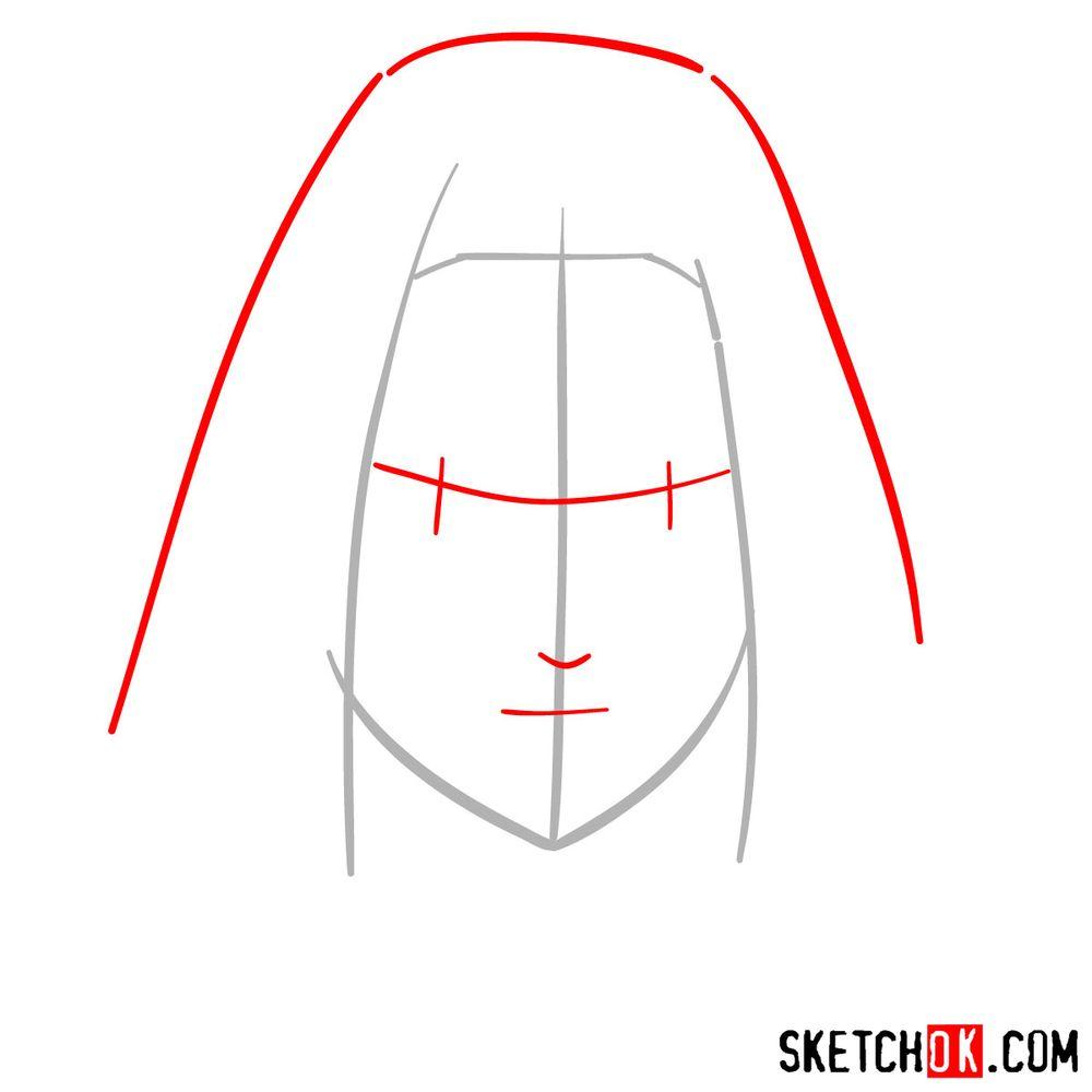 How to draw Sakura Haruno's face - step 02