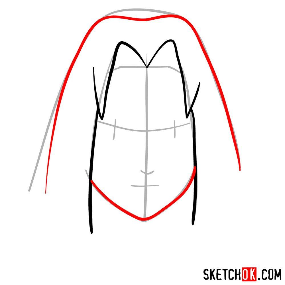 How to draw Sakura Haruno's face - step 04