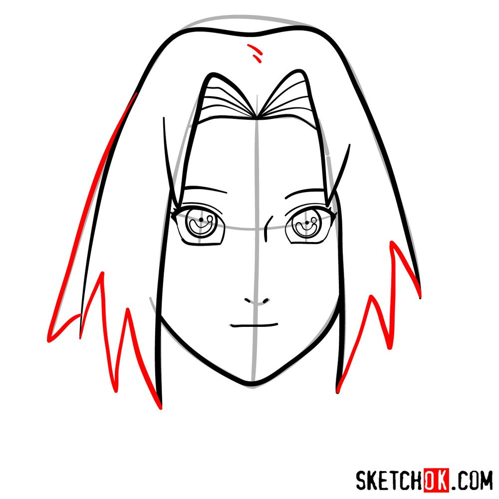 How to draw Sakura Haruno's face - step 07